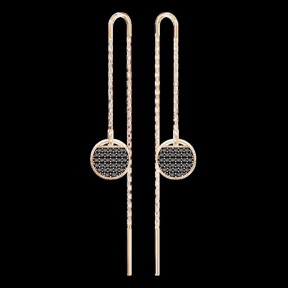 Ginger Chain Pierced Earrings, Gray, Rose Gold Plated