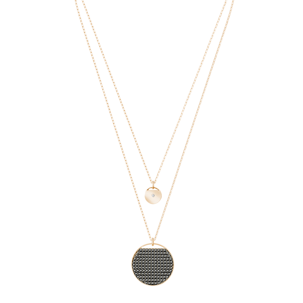 Ginger Layered Pendant, Gray, Rose Gold Plated