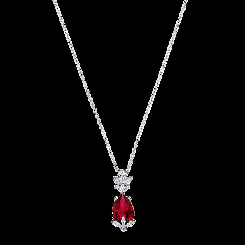 Louison Pendant, Red, Rhodium plated