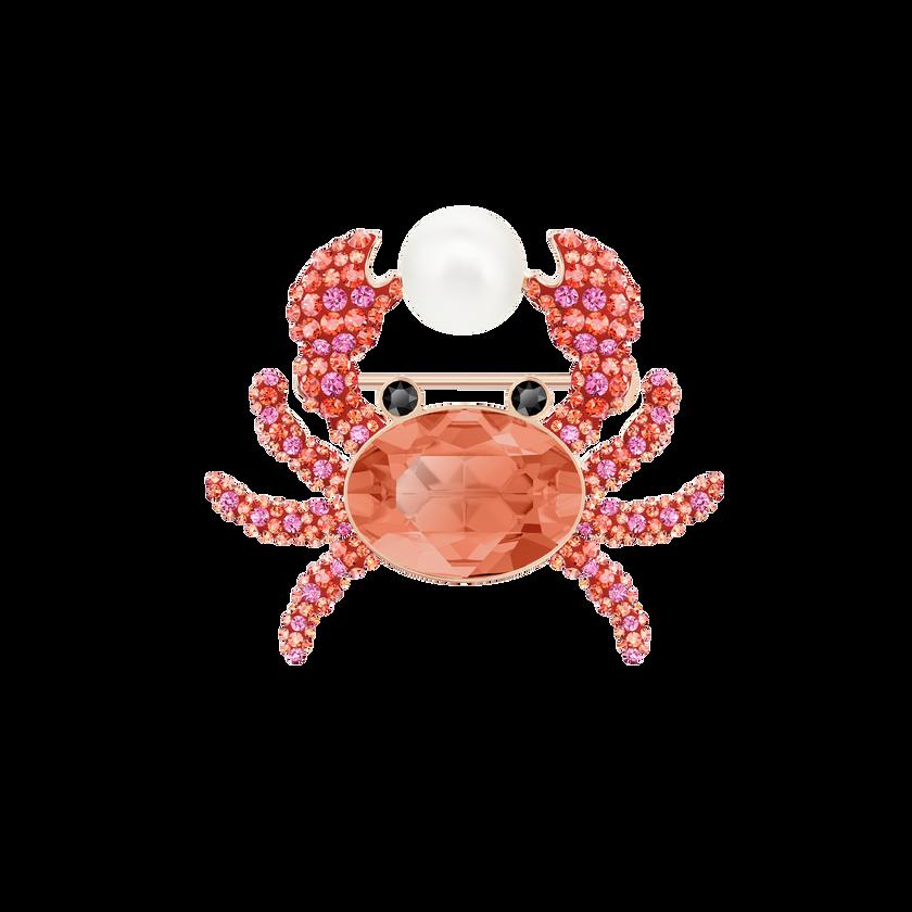 Ocean Crab Brooch, Multi-colored, Rose gold plating
