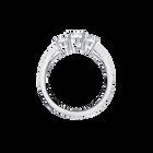 Attract Trilogy Round Ring, White, Rhodium Plating