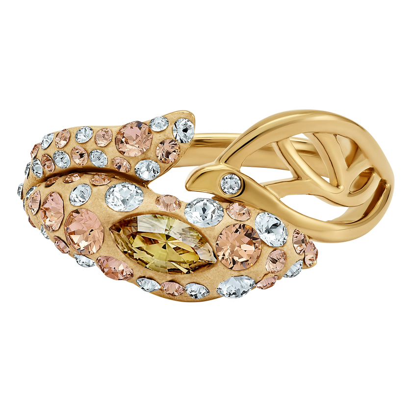 Graceful Bloom Ring, Brown, Gold-tone plated