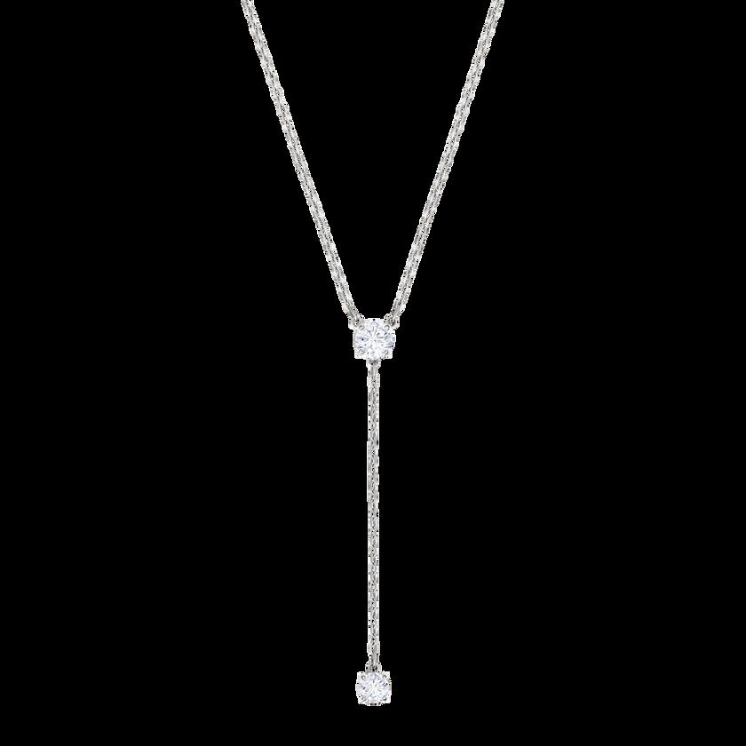 Attract Y Necklace, White, Rhodium Plating