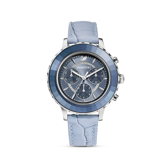 Octea Lux Chrono Watch, Leather strap, Blue, Stainless Steel