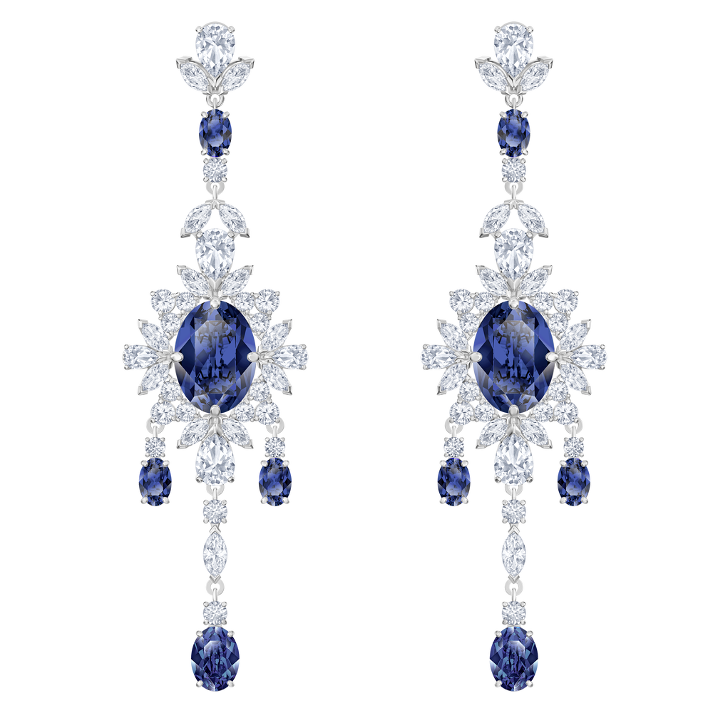 Palace Chandelier Pierced Earrings, Blue, Rhodium plated