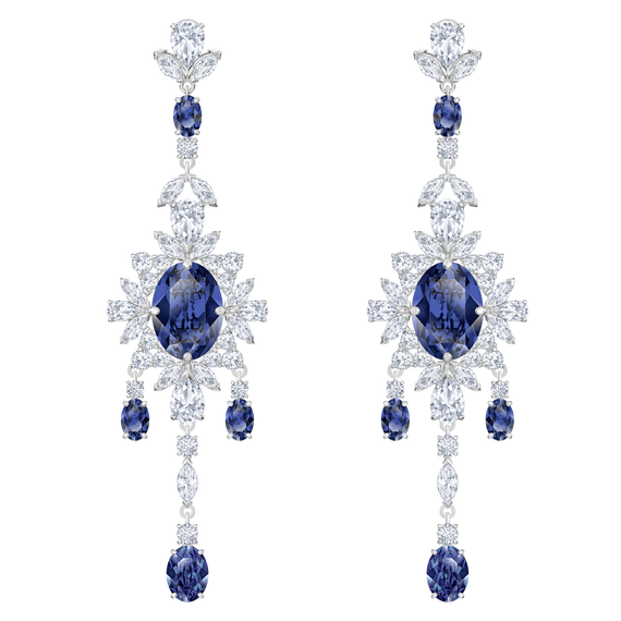 Palace Chandelier Pierced Earrings, Blue, Rhodium plated