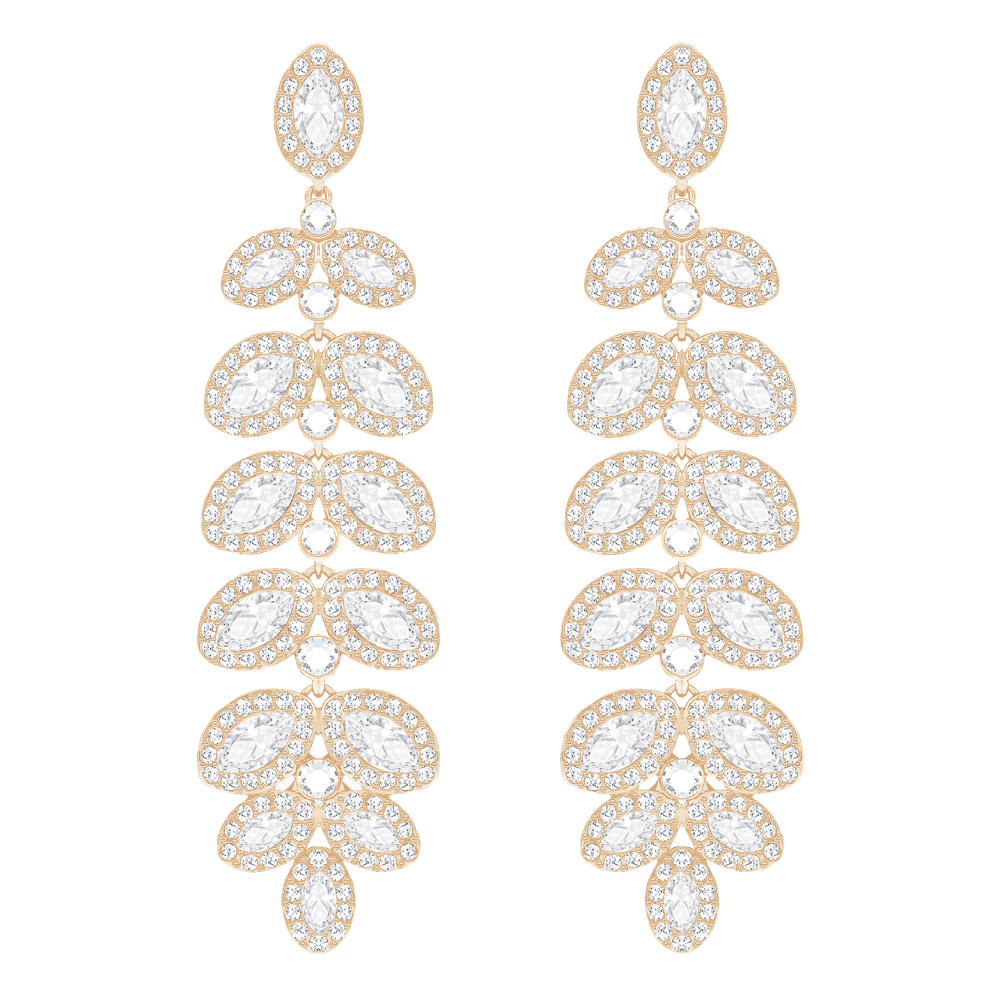 Baron Pierced Earrings, White, Rose Gold Plated