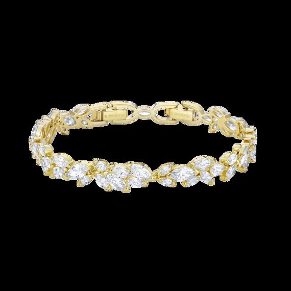 Louison Bracelet, White, Gold-tone plated