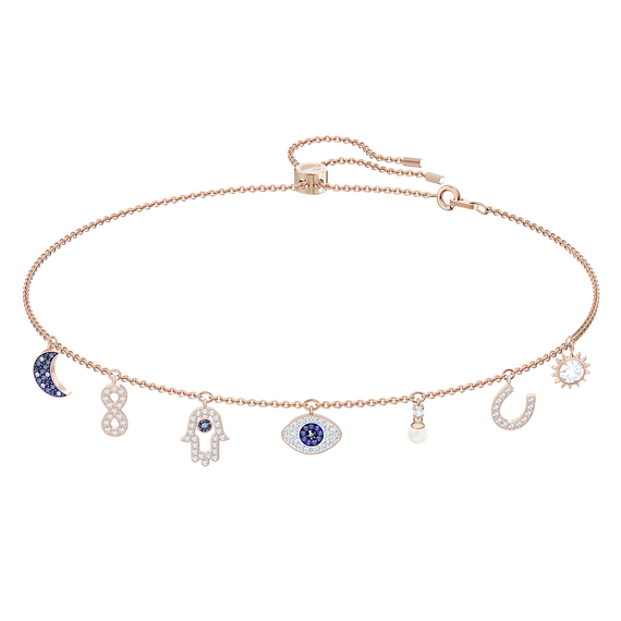 Swarovski Symbolic Necklace, Multi-colored, Rose-gold tone plated