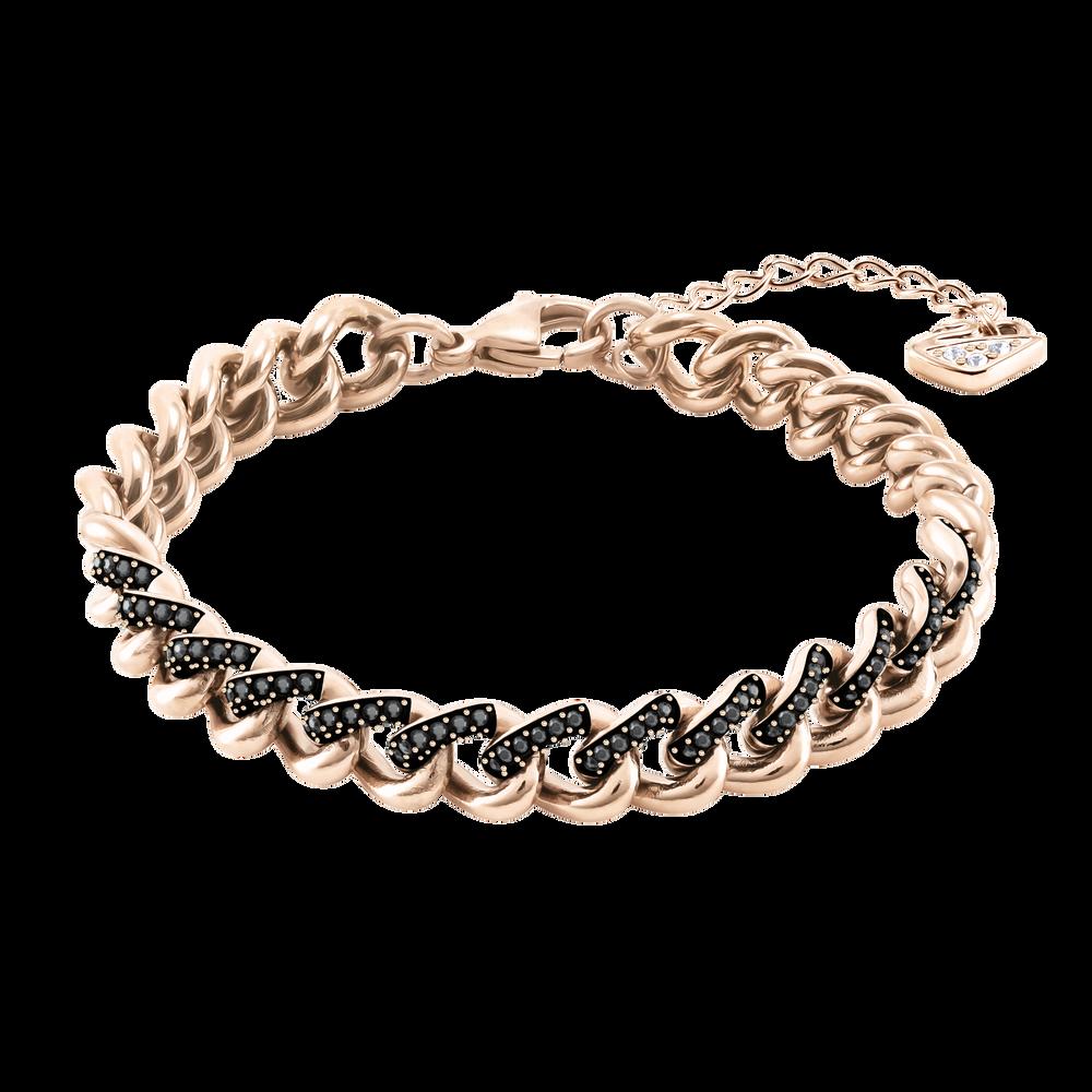 Lane Bracelet, Black, Rose-gold tone plated
