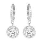 Attract Light Pierced Earrings, White, Rhodium Plating