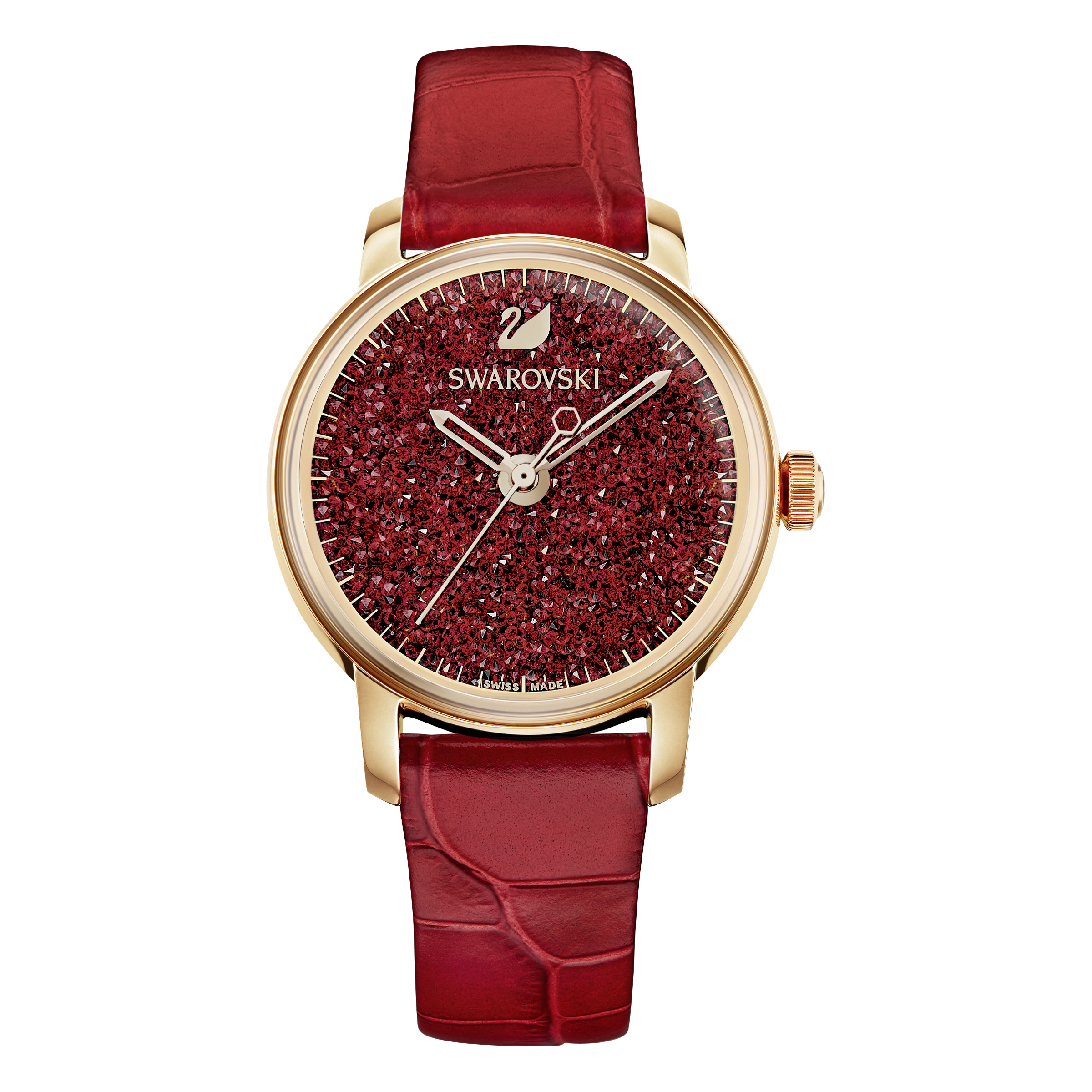 Crystalline Hours Watch, Red, Rose Gold Tone