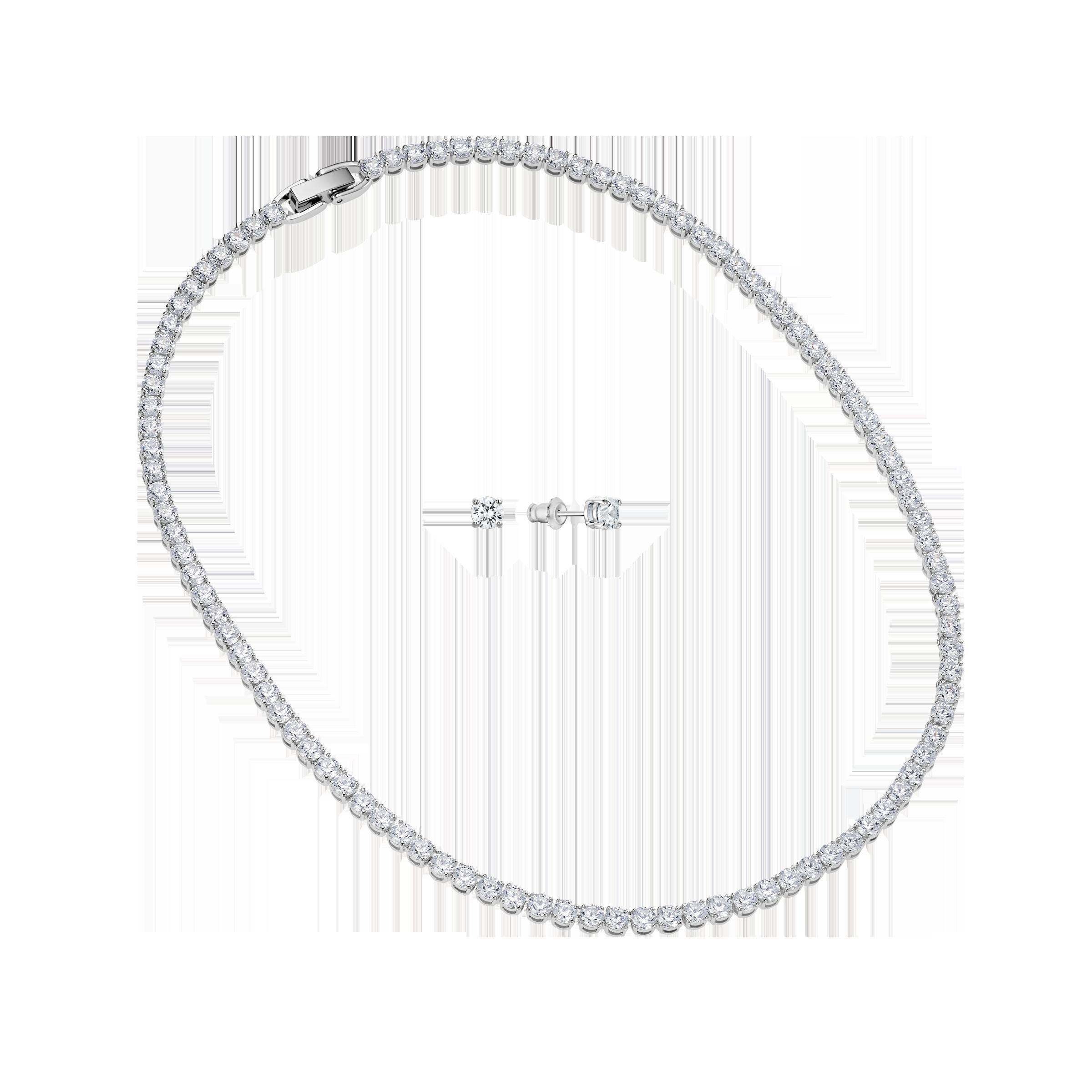 Tennis Deluxe Set, White, Rhodium plated
