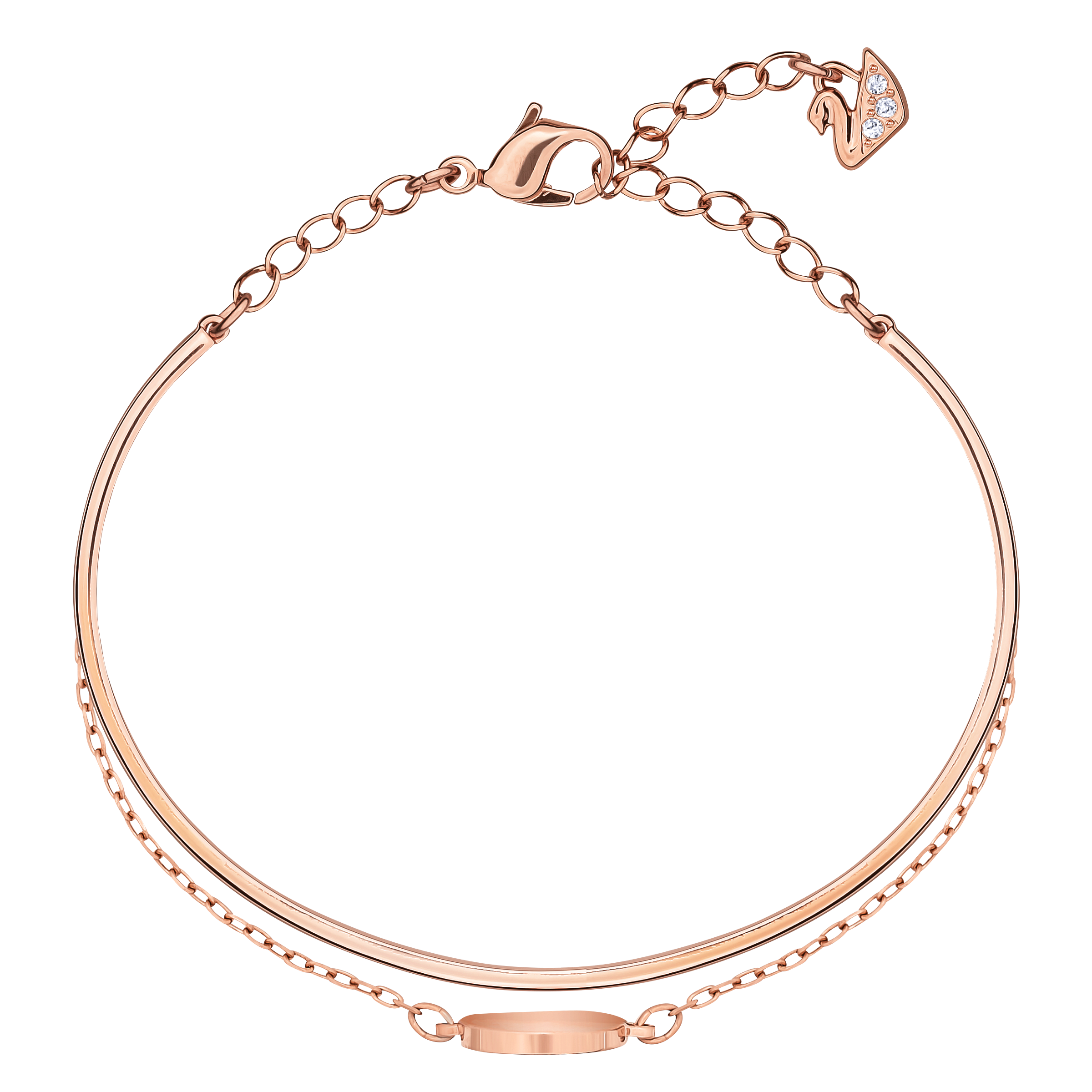 Ginger Bangle, White, Rose Gold Plated