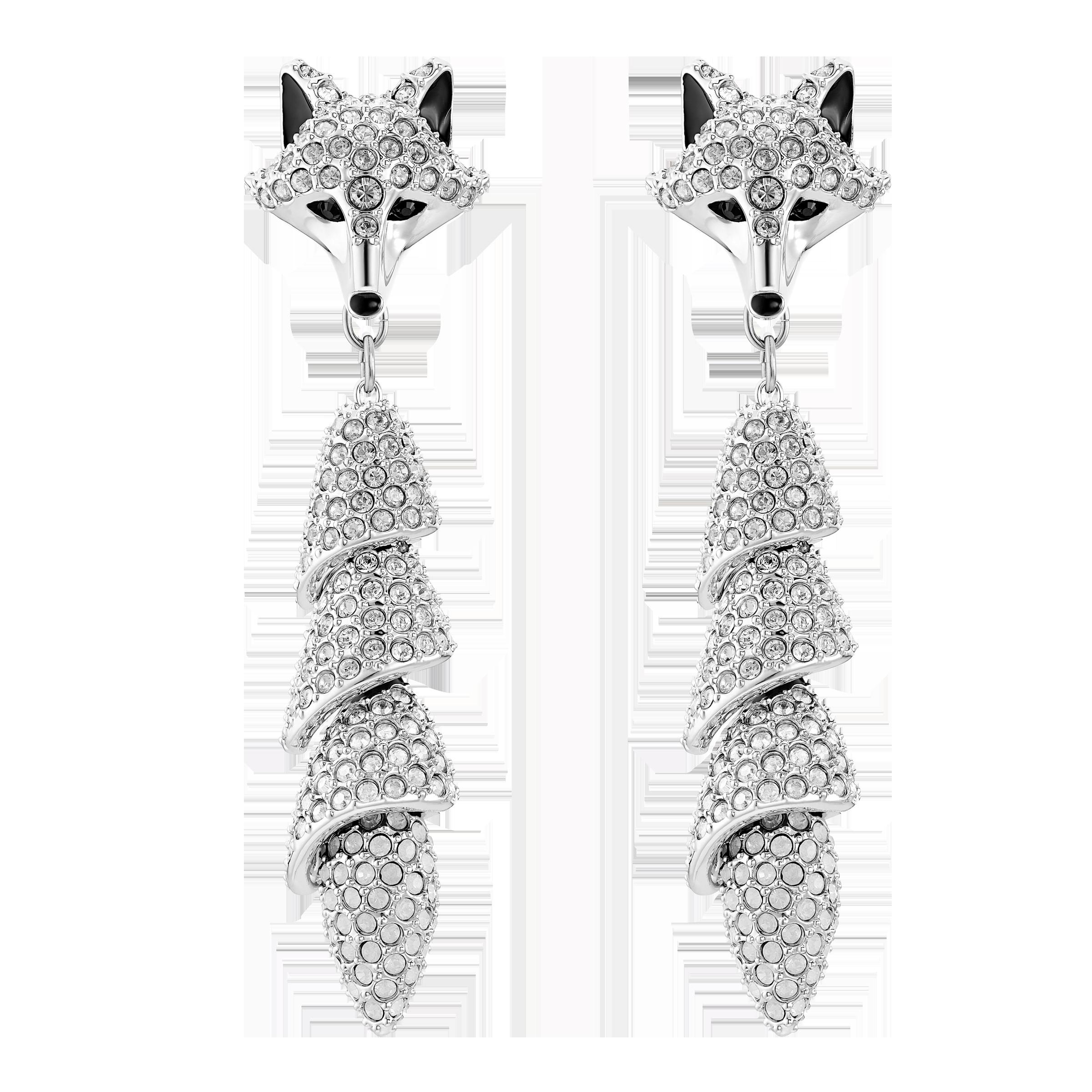 Polar Bestiary Drop Pierced Earrings, Multi-colored, Rhodium plated