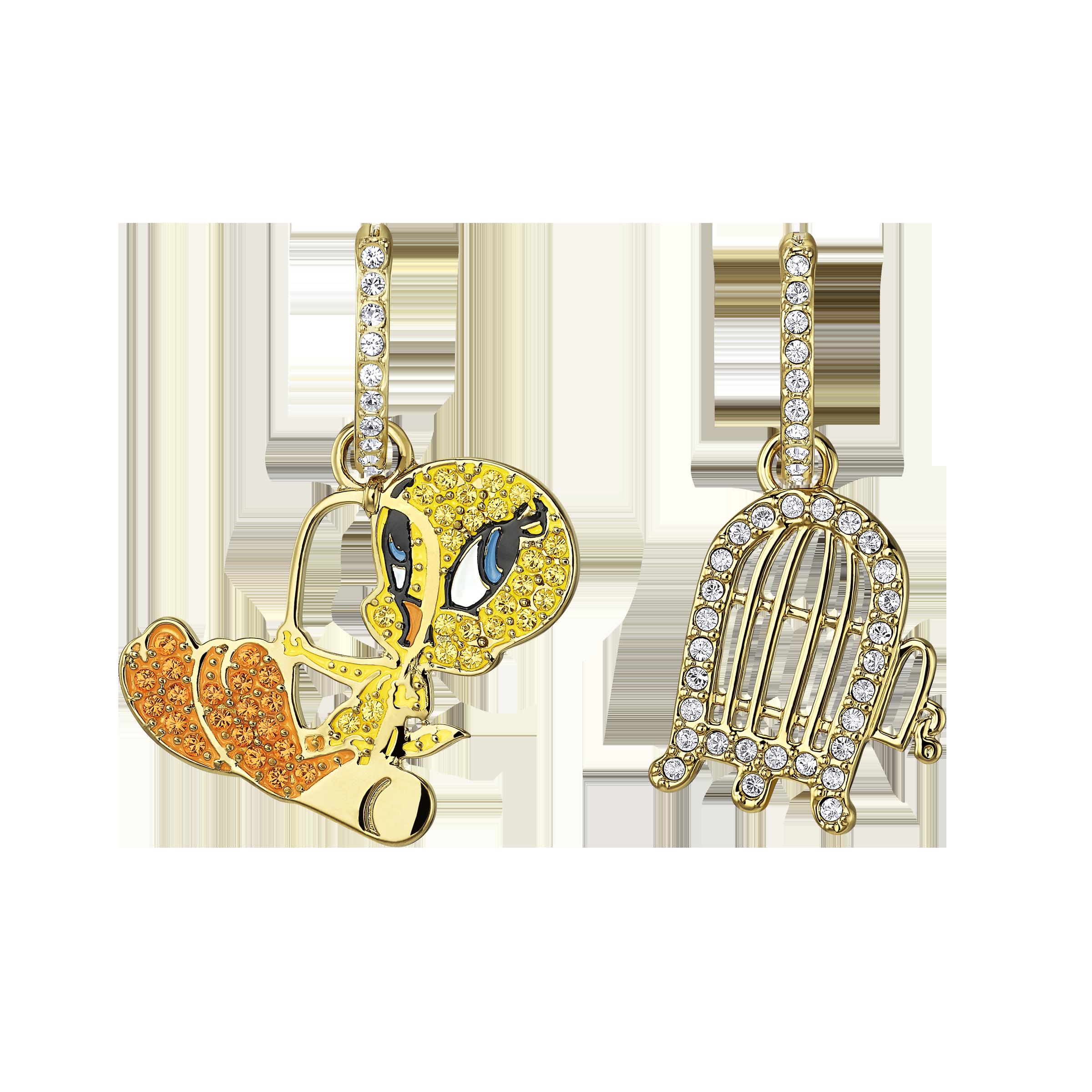 Looney Tunes Tweety Hoop Pierced Earrings, Multi-colored, Gold-tone plated