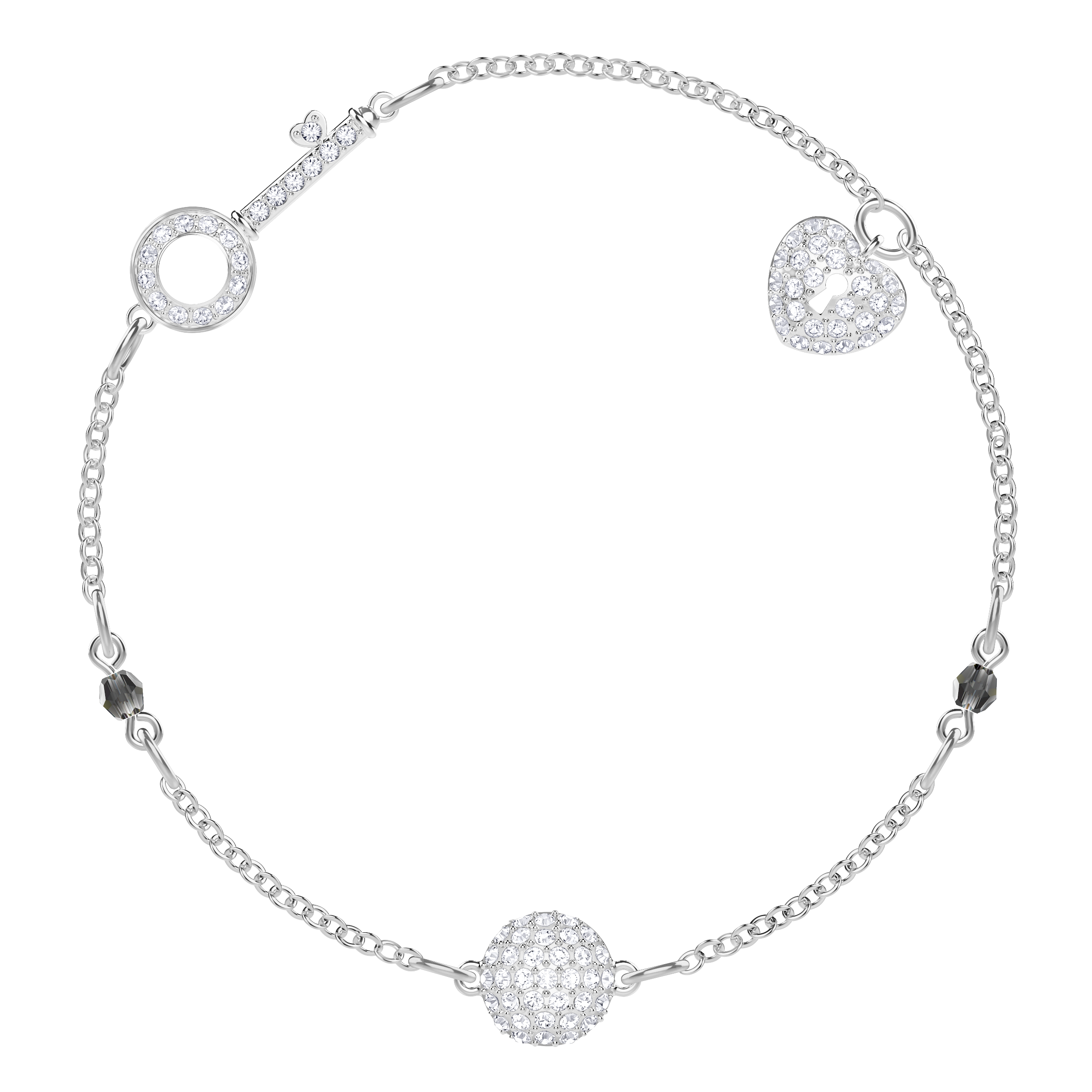 Swarovski Remix Collection Lock Strand, White, Rhodium plated