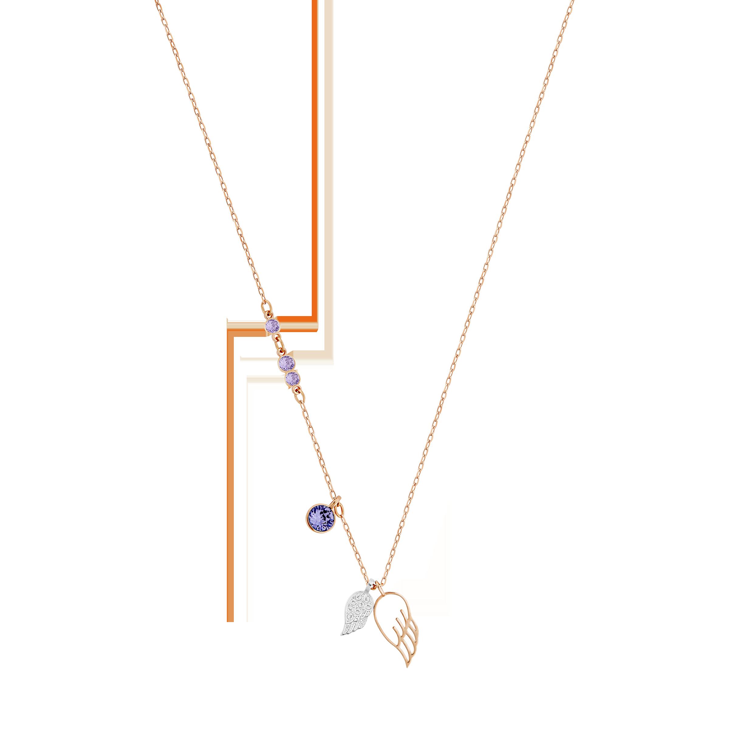 Swarovski Symbolic Wing Pendant, Violet, Mixed metal finish