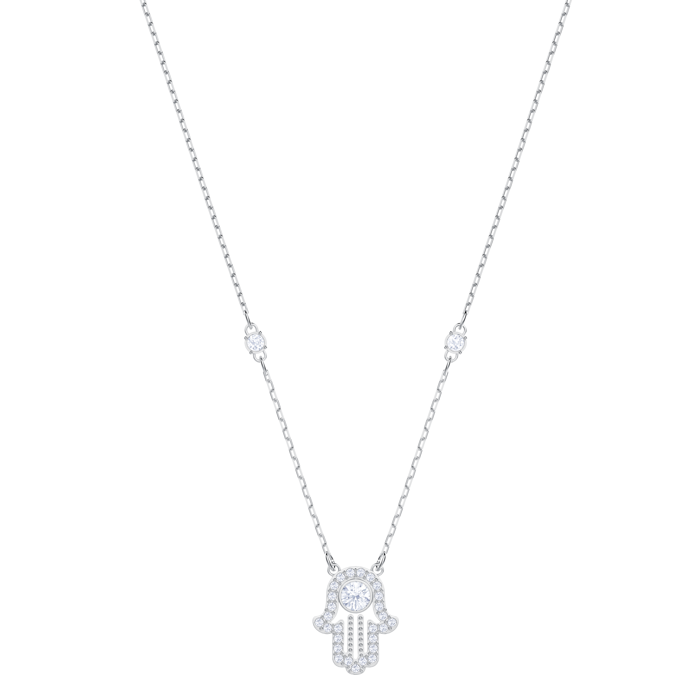 Luckily Hamsa Hand Necklace, White, Rhodium plated