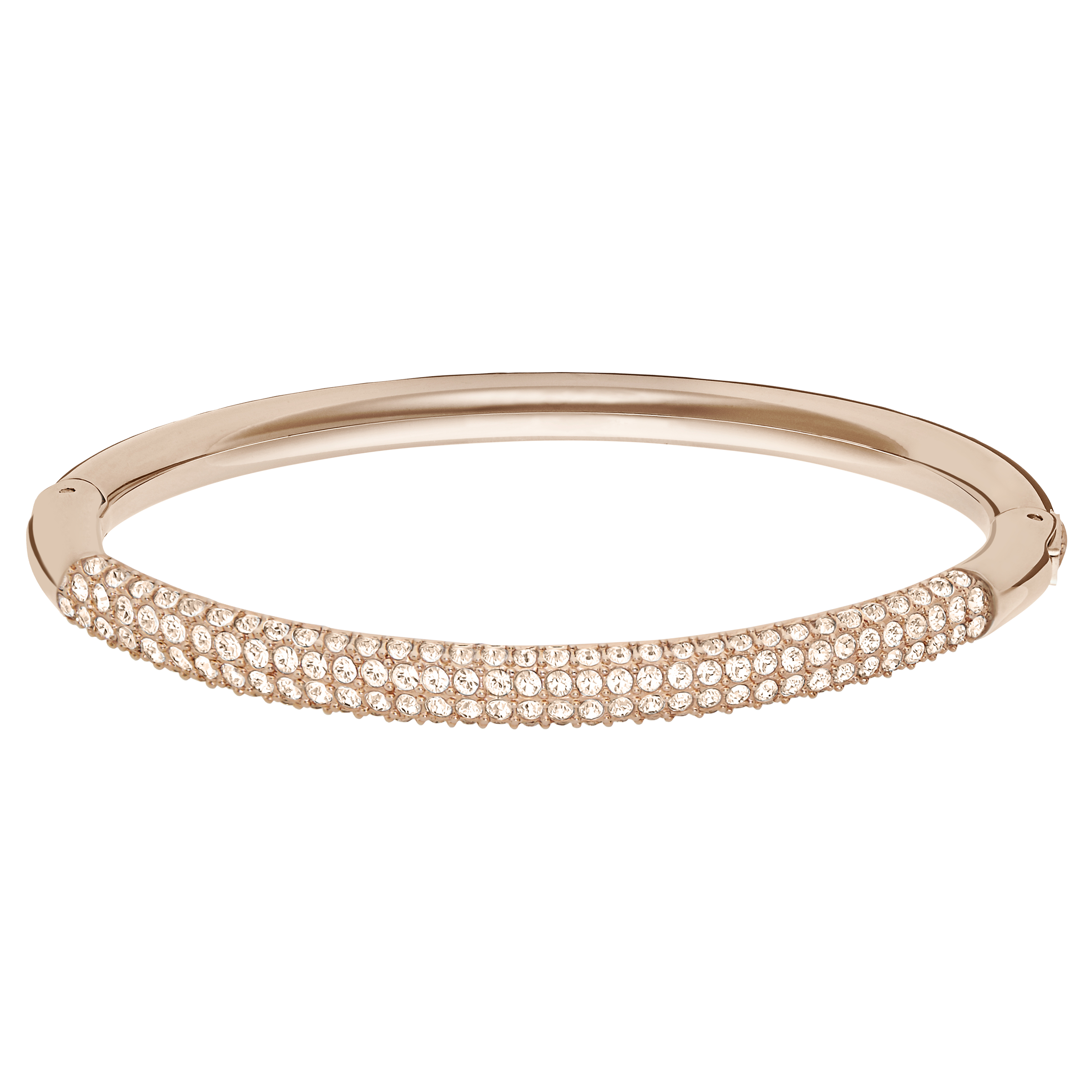Stone Mini Bangle, White, Rose Gold Plated