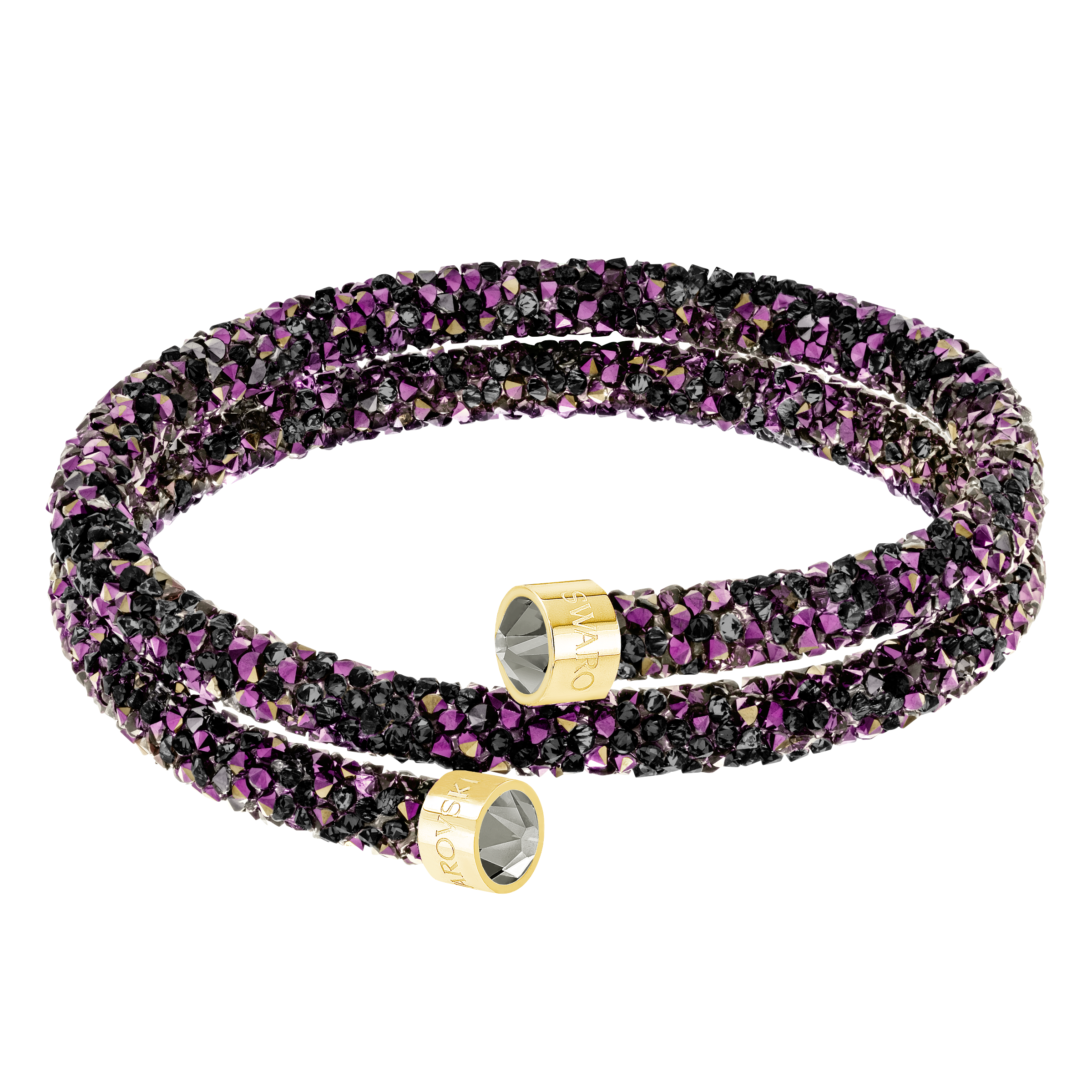 Crystaldust Double Bangle, Multi-colored, Gold-tone plated