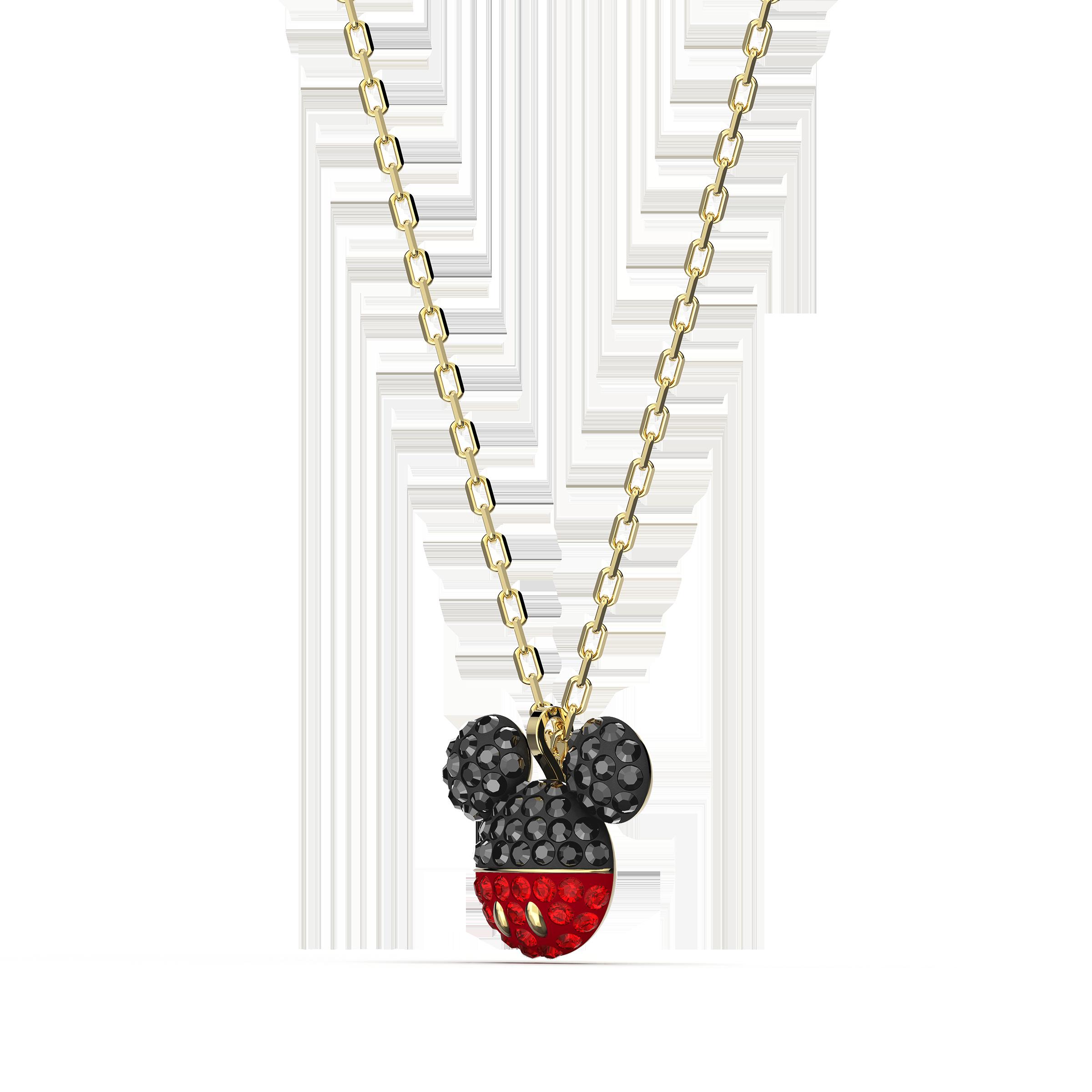 Mickey Pendant, Black, Gold-tone plated