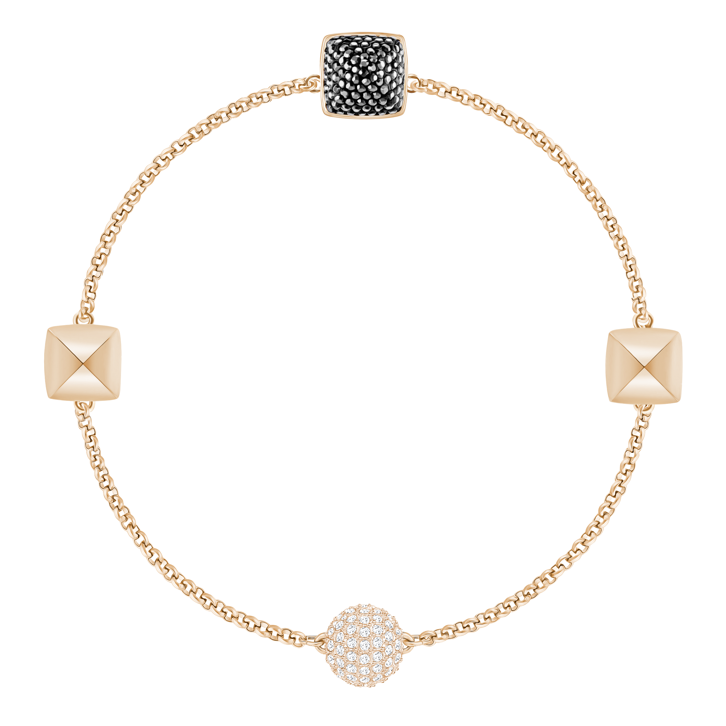 Swarovski Remix Collection Spike Strand, Black, Rose-gold tone plated