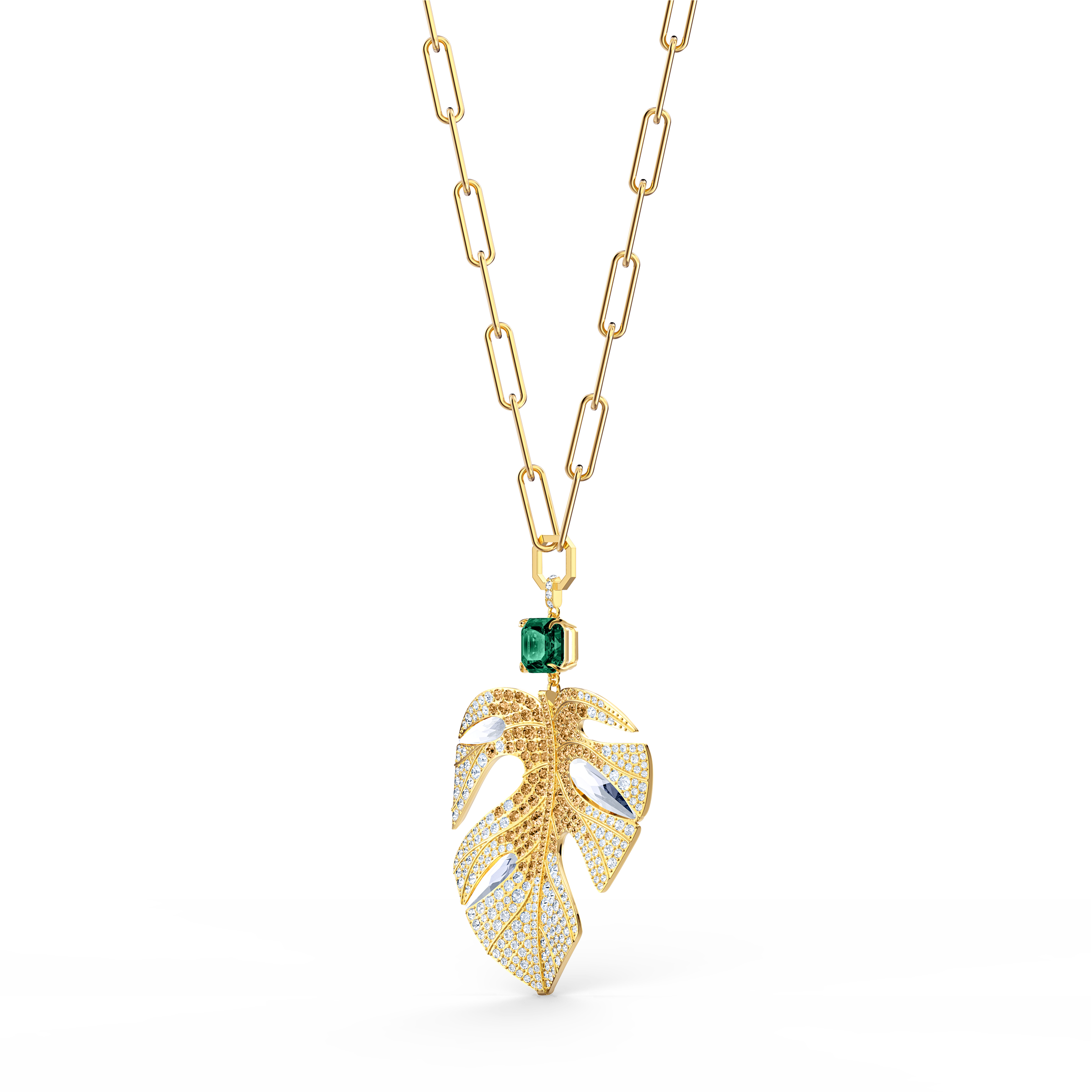 Tropical Leaf Pendant, Light multi-colored, Gold-tone plated