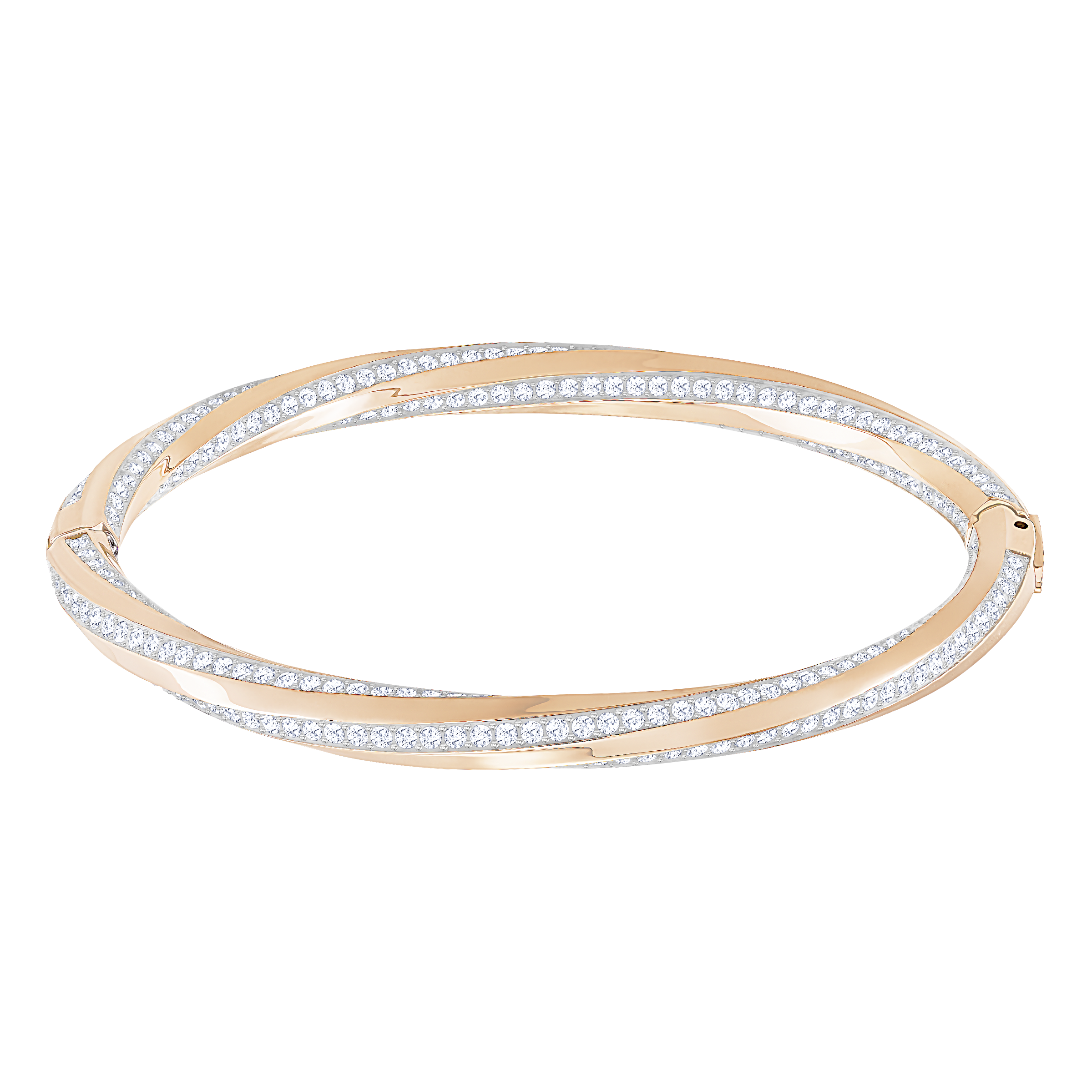 Hilt Bangle, White, Rose Gold Plated