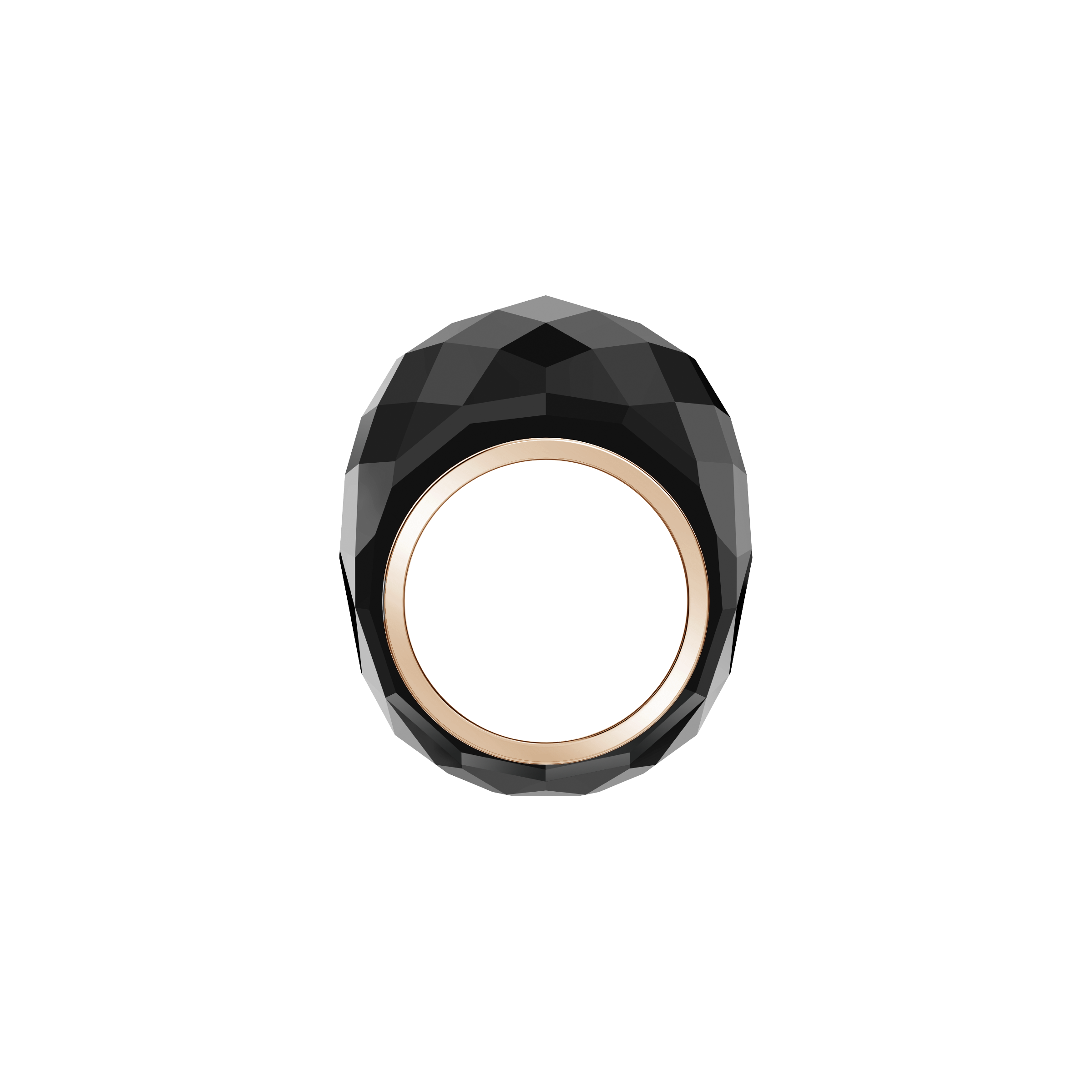Nirvana Ring, Black, Rose-gold tone PVD