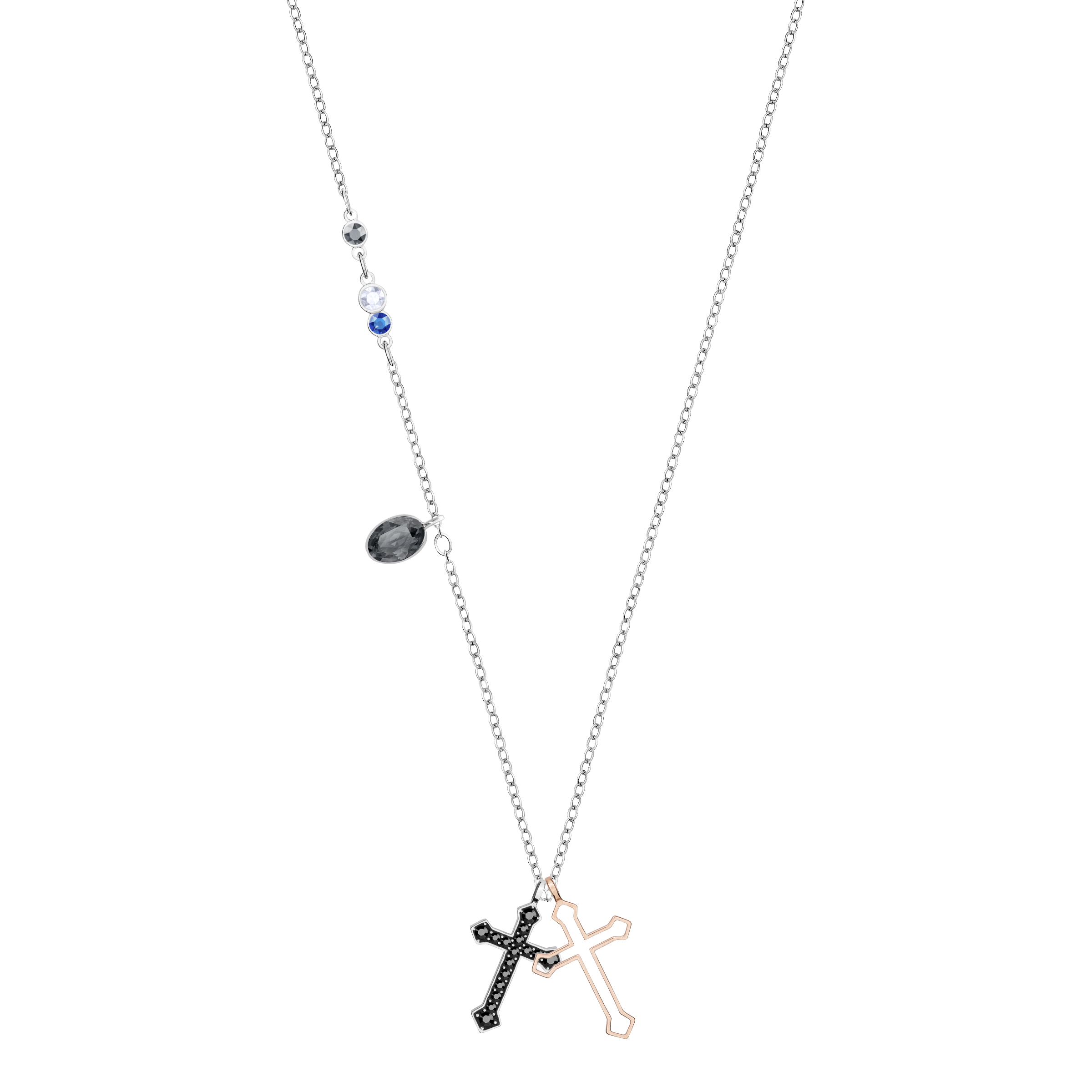 Duo Mini Cross Pendant, Multi-Colored, Mixed Plating