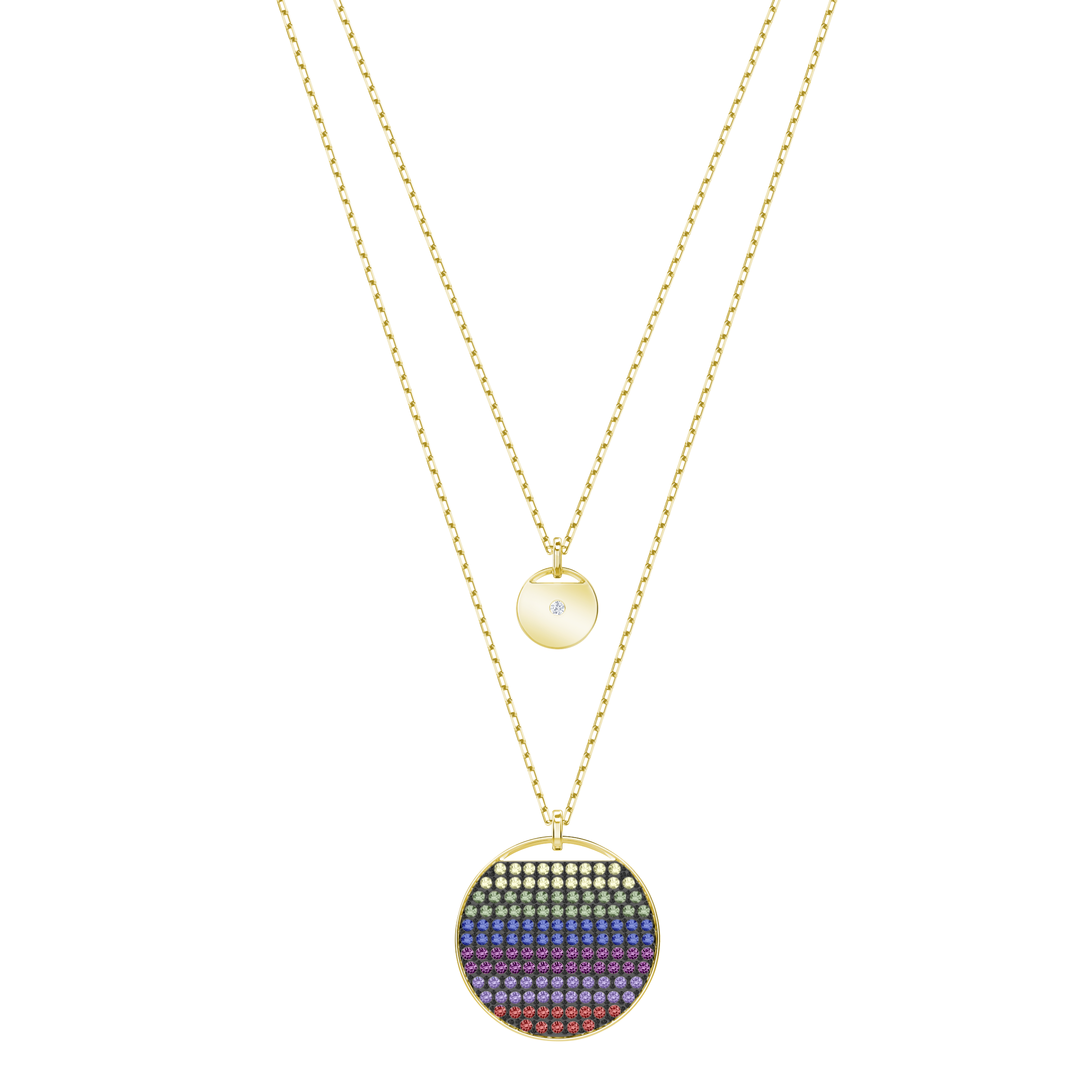 Ginger Layered Pendant, Multi-Colored, Gold Plating