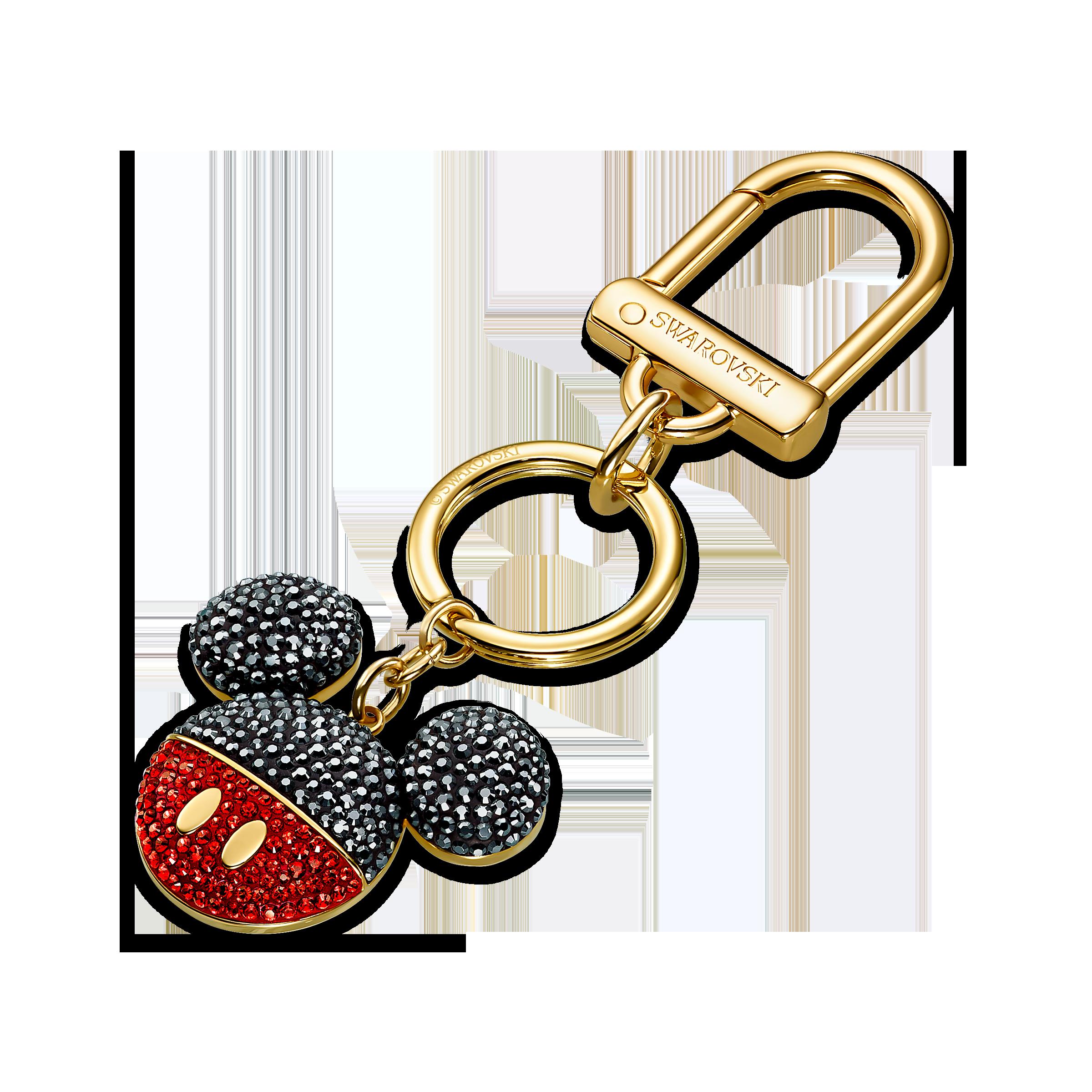 Mickey Bag Charm, Black, Gold-tone plated