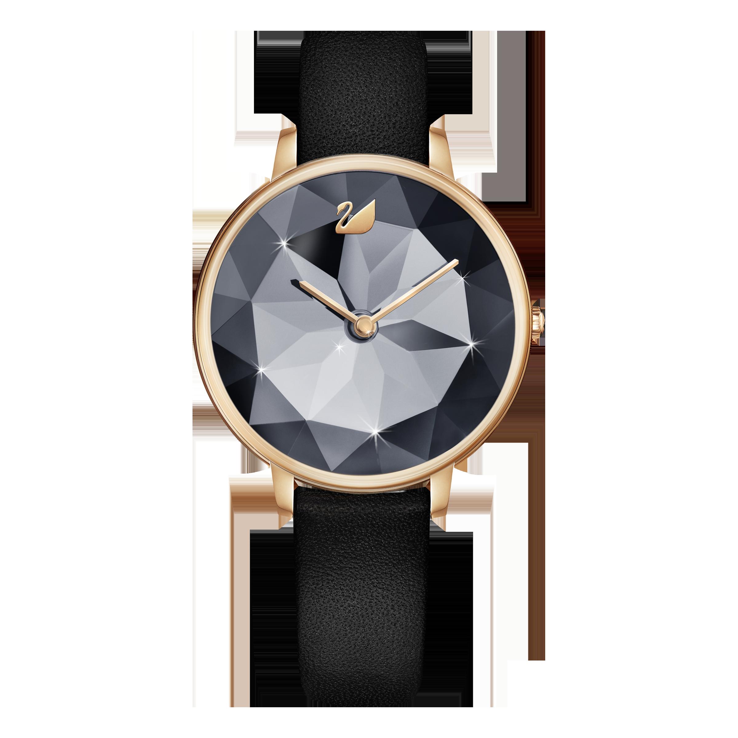 Crystal Lake Watch, Leather Strap, Black, Rose Gold Tone