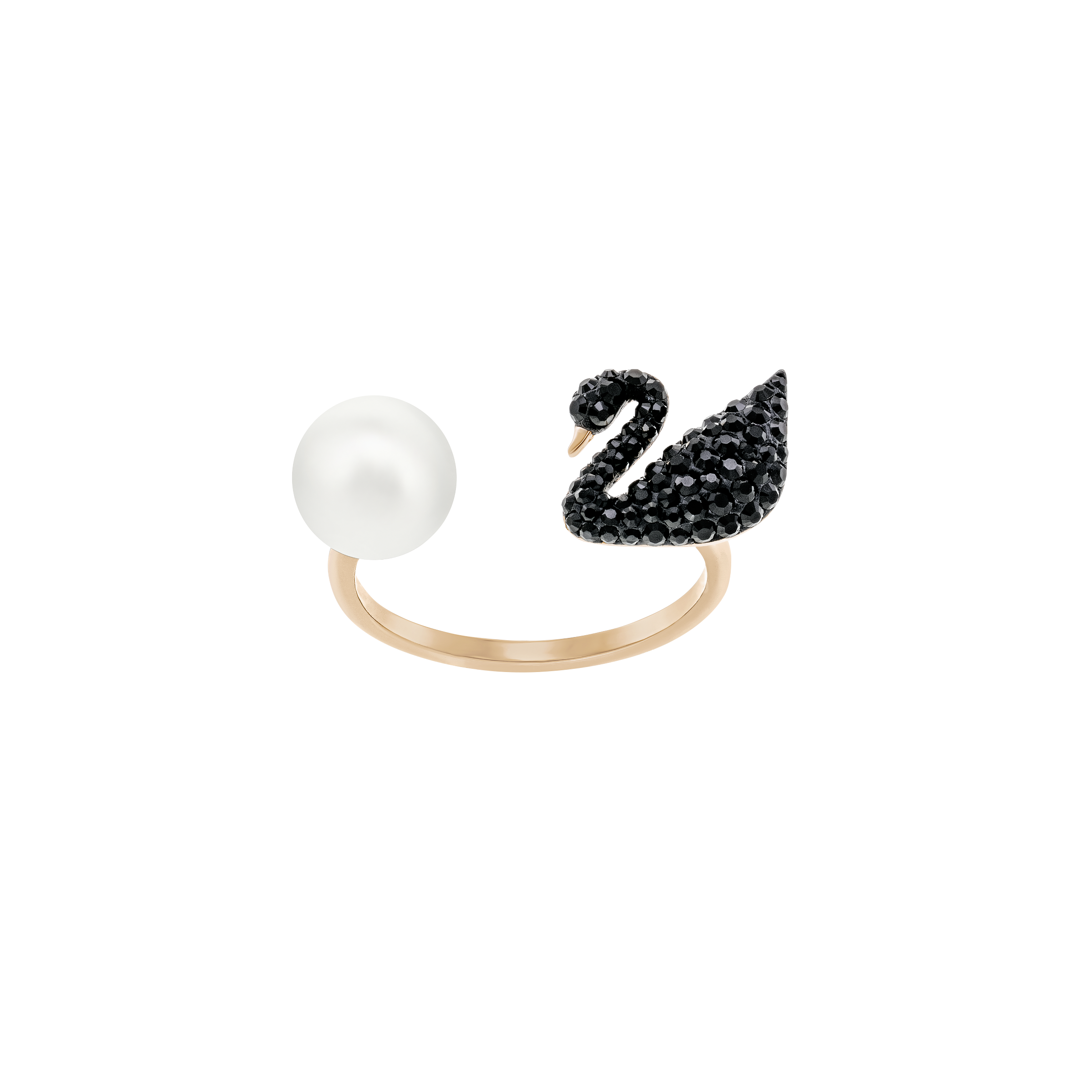 Iconic Swan Open Ring, Black, Rose gold plated