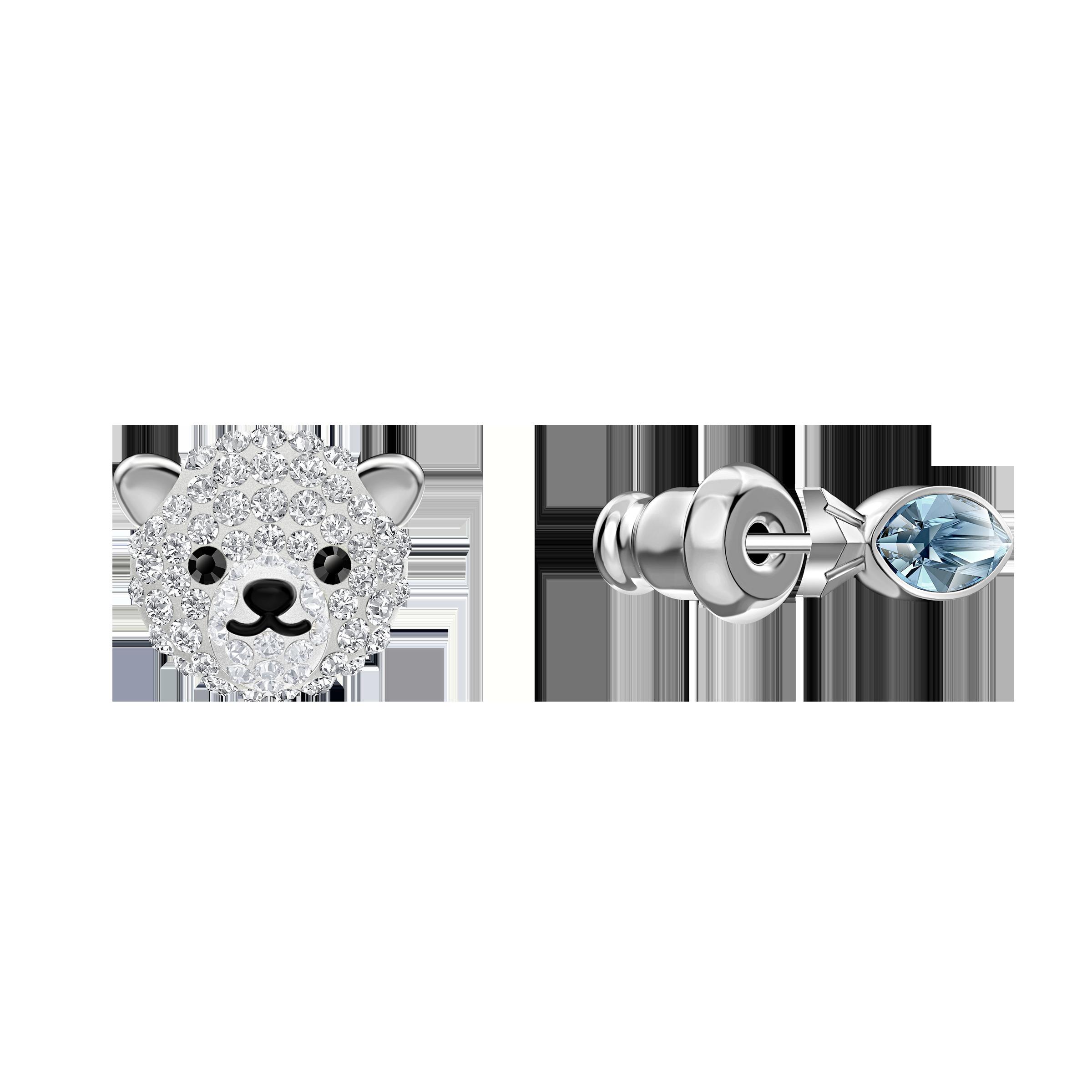 Polar Pierced Earrings, Multi-colored, Rhodium plated