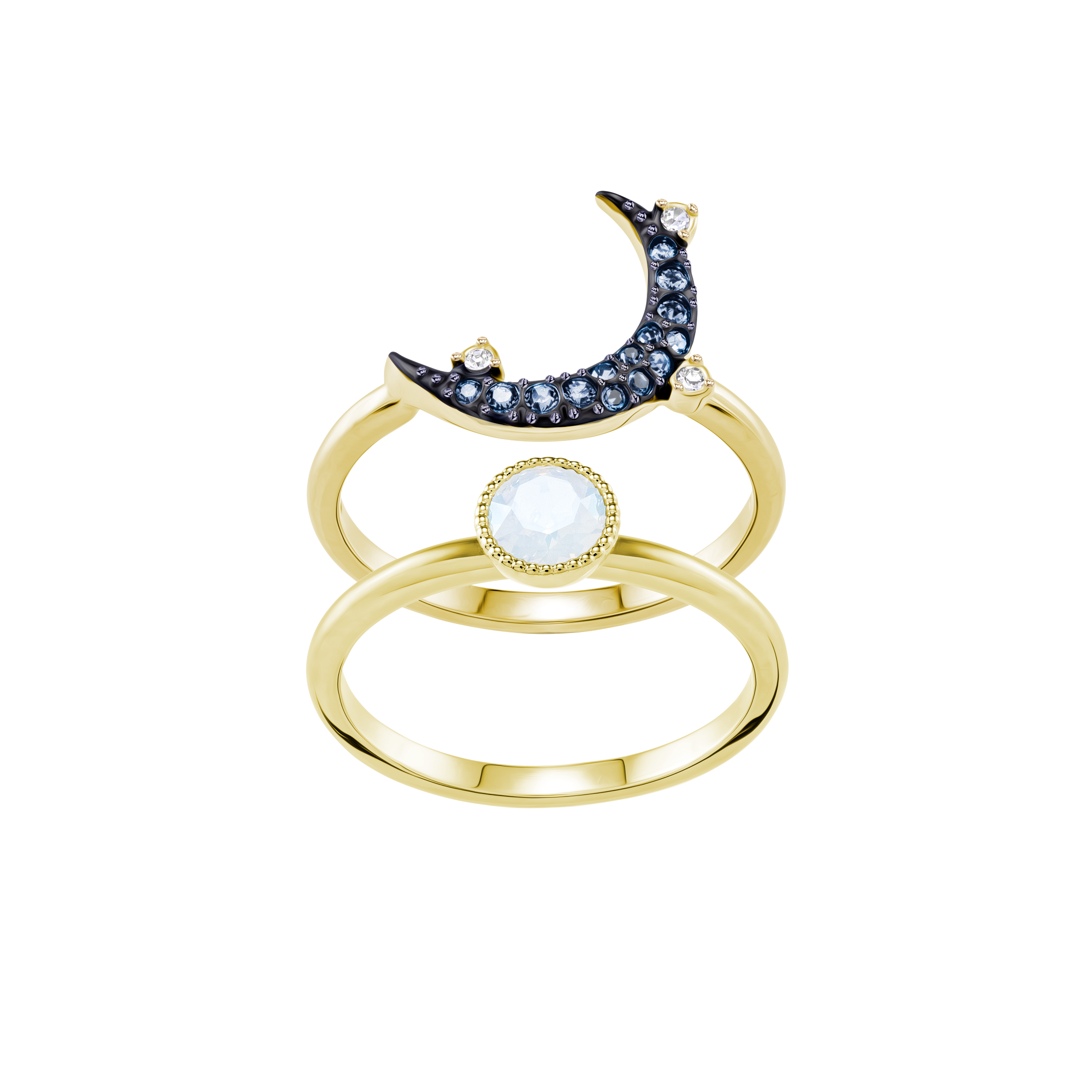 Duo Moon Ring, Teal, Mixed Plating