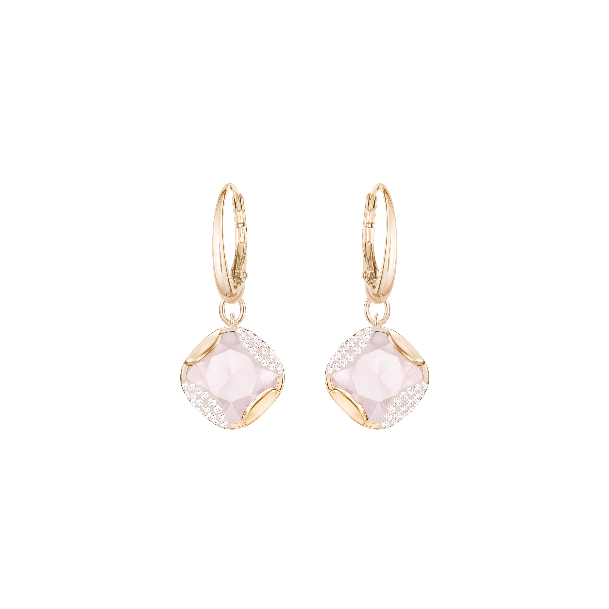Heap Square Pierced Earrings, Pink, Rose-gold tone plated
