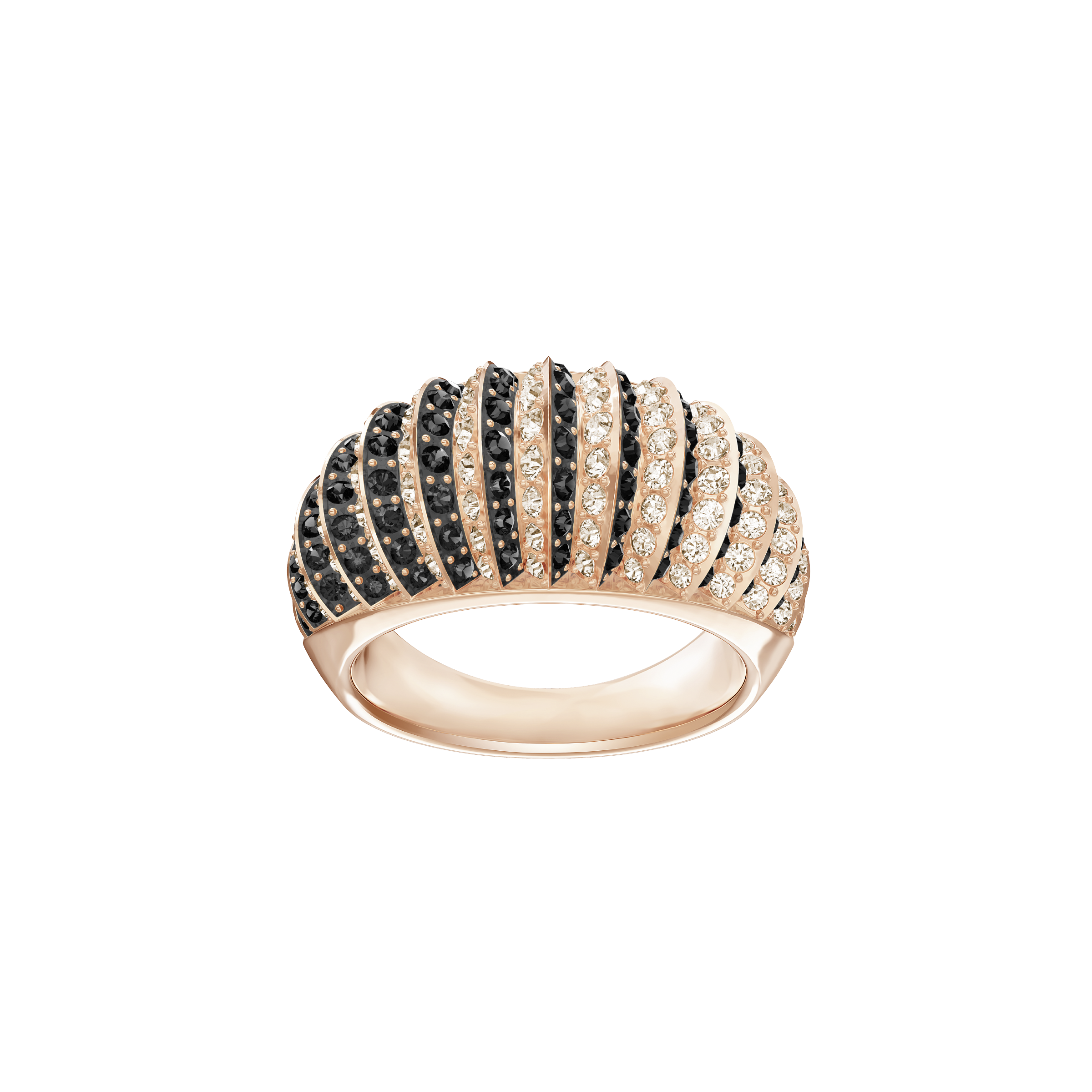 Luxury Domed Ring, Black, Rose Gold Plating