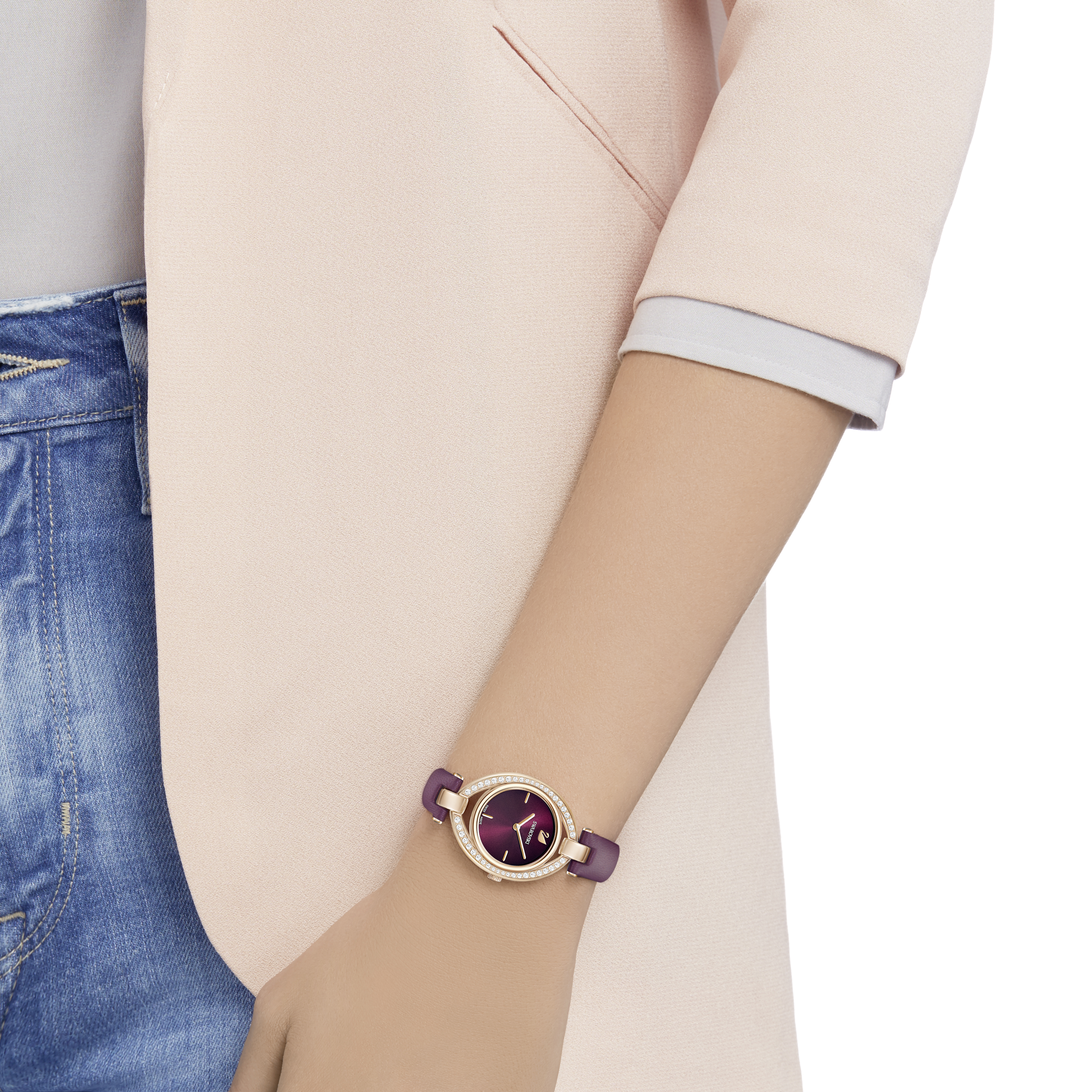 Stella Watch, Leather Strap, Dark Red, Rose Gold Tone