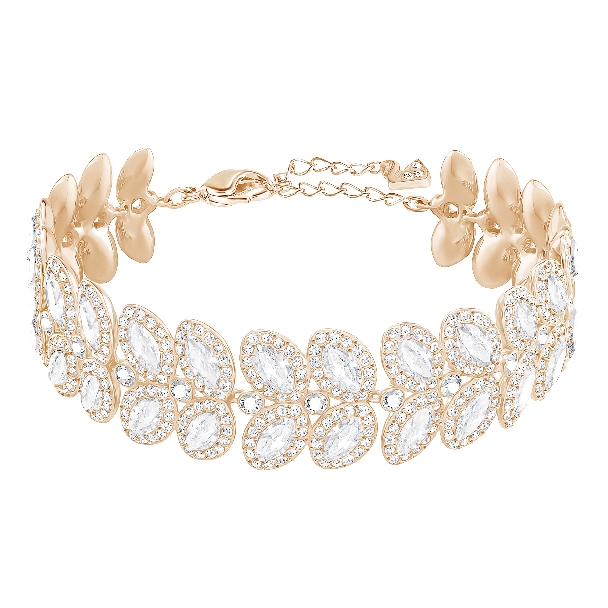 Baron Bracelet, White, Rose Gold Plated