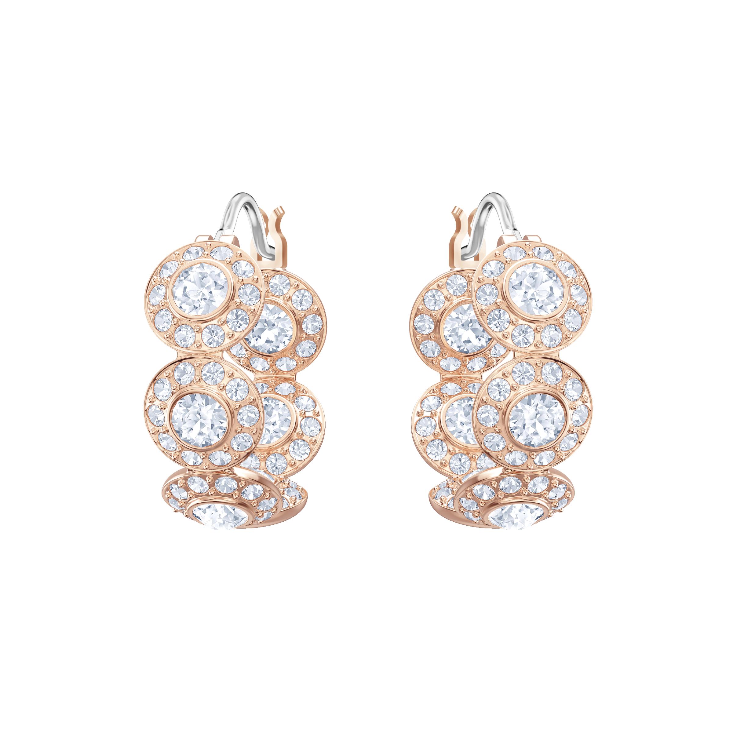 Angelic Hoop Pierced Earrings, White, Rose Gold Plating