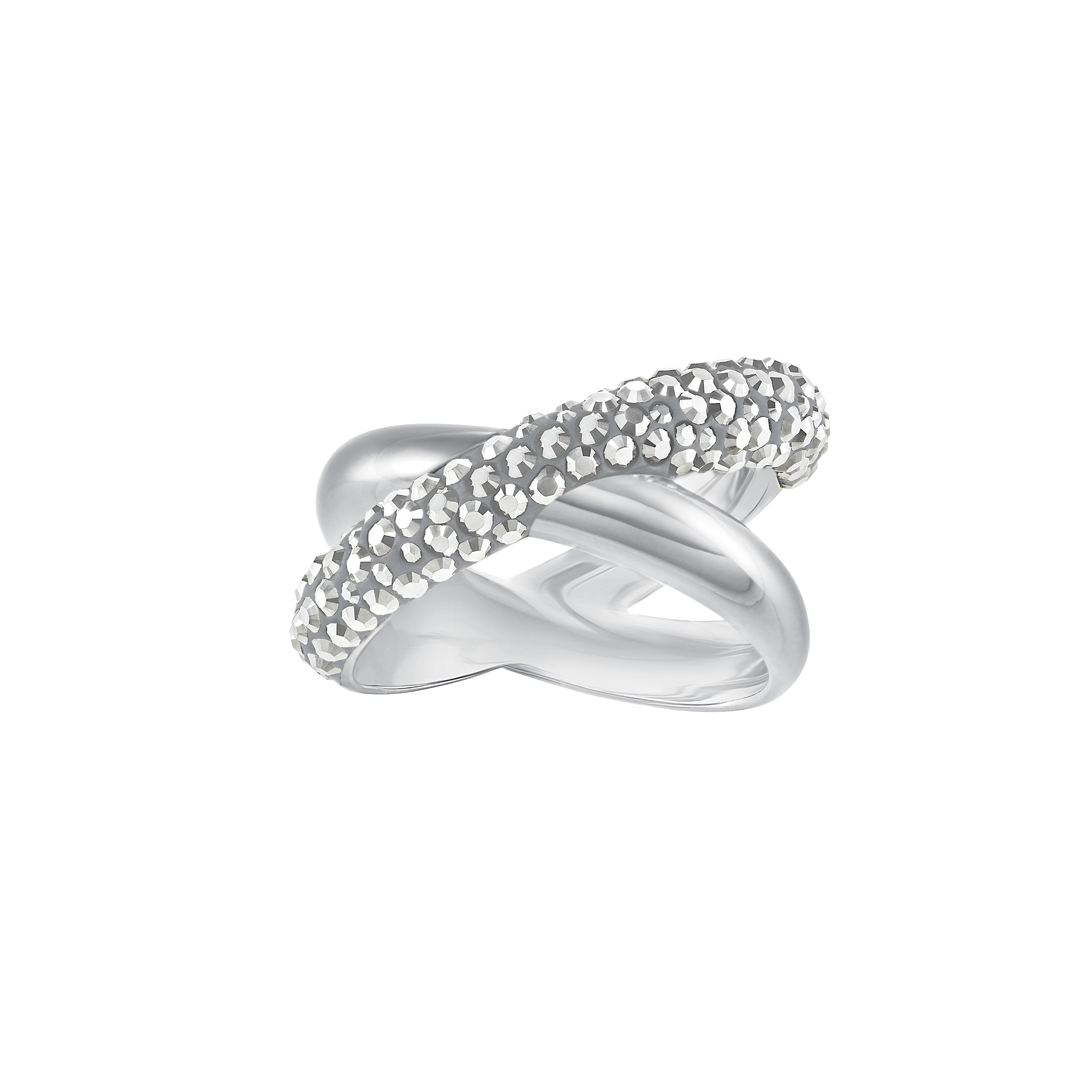 Crystaldust Cross Ring, Gray, Palladium plating