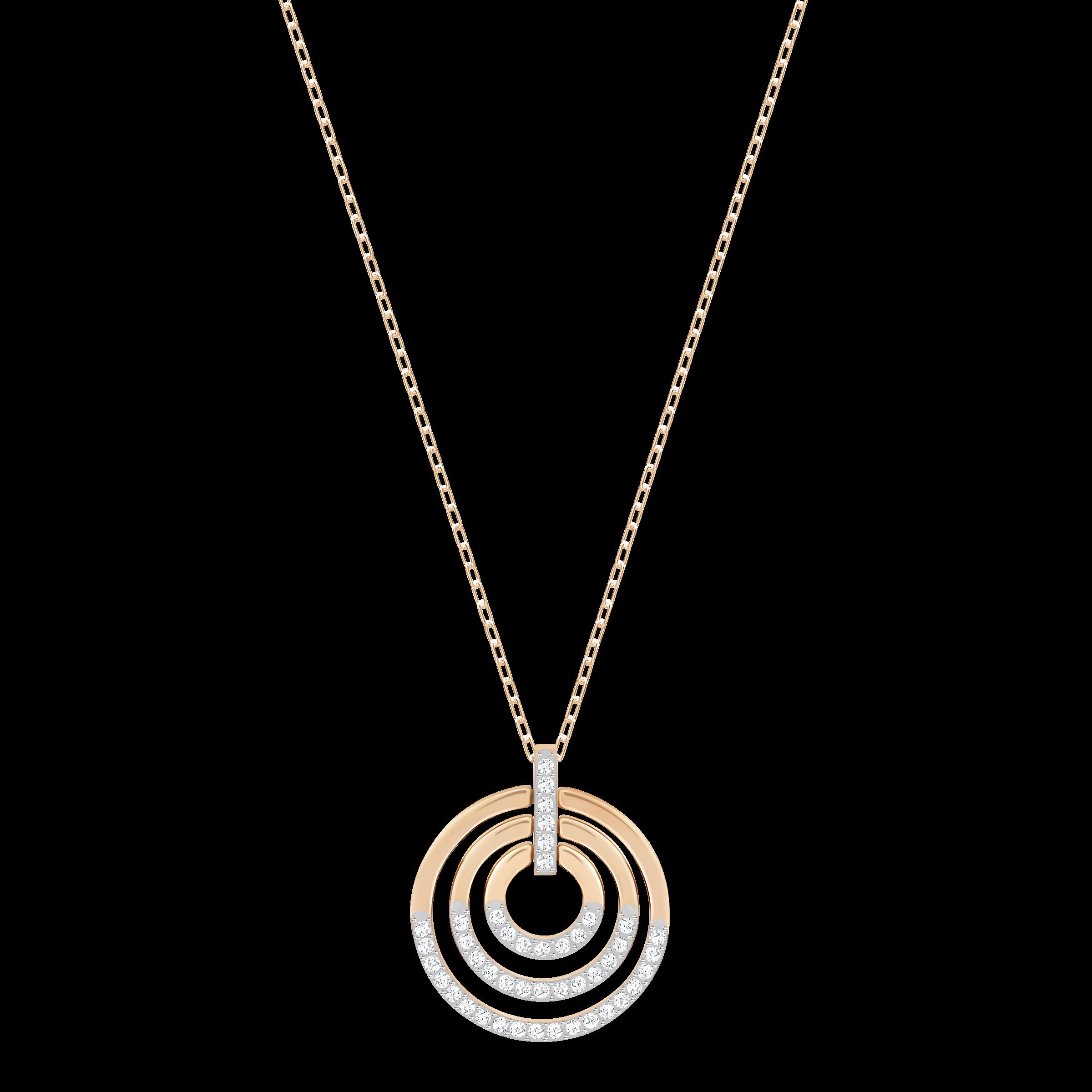 Circle Pendant, White, Rose-gold tone plated