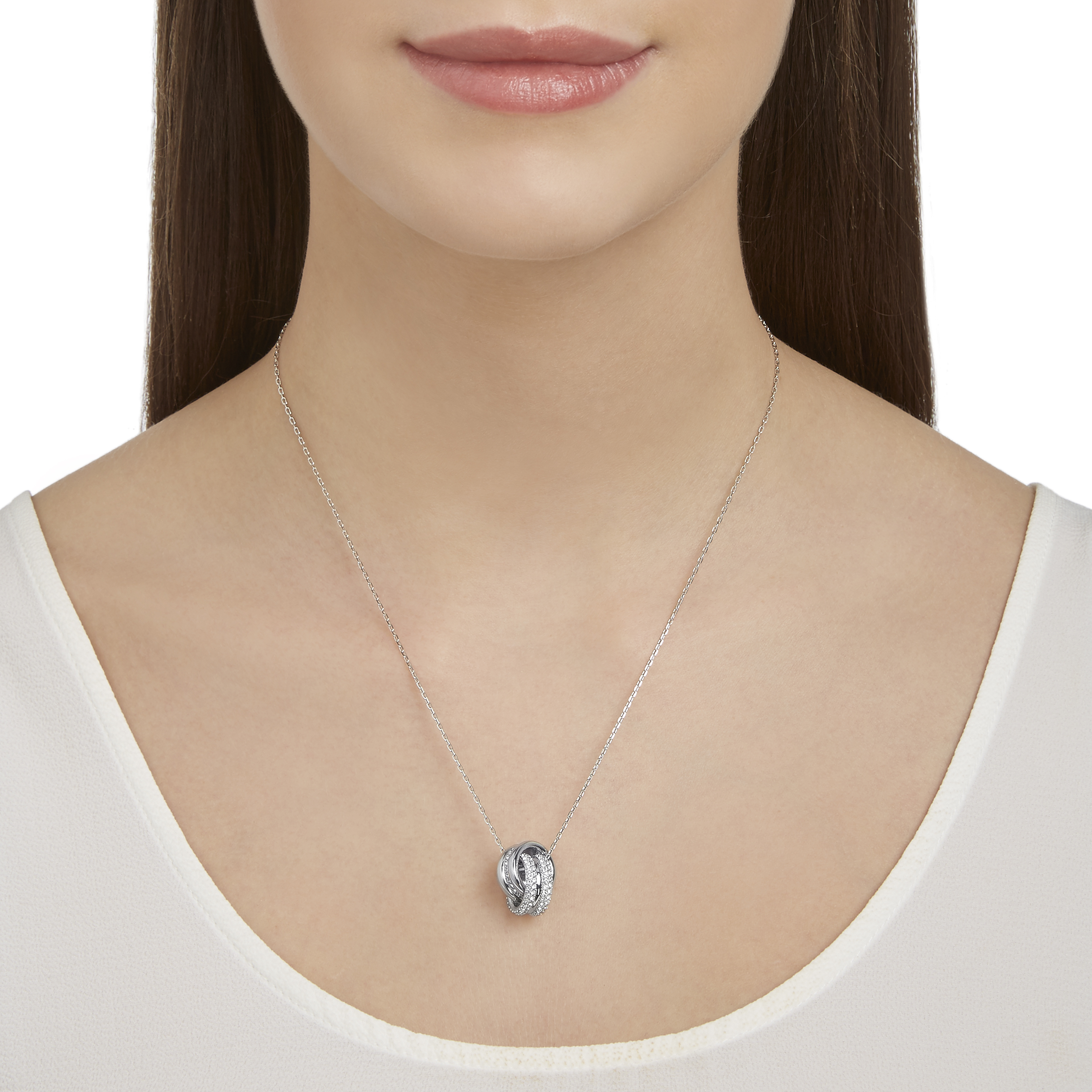 Further Pendant, Small, White, Rhodium Plated