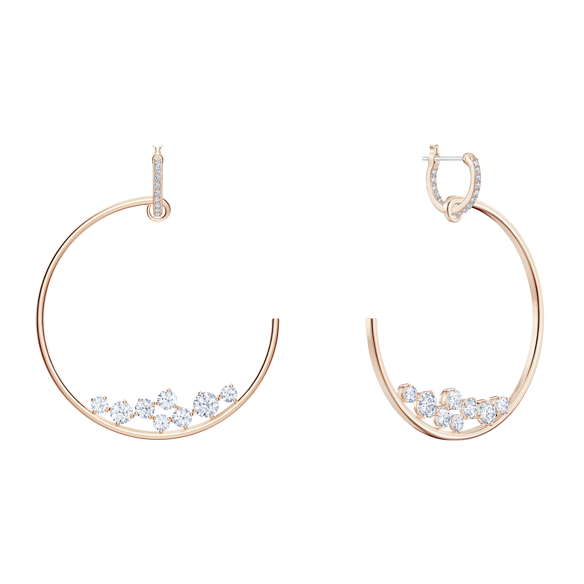 North Hoop Pierced Earrings, White, Rose-gold tone plated