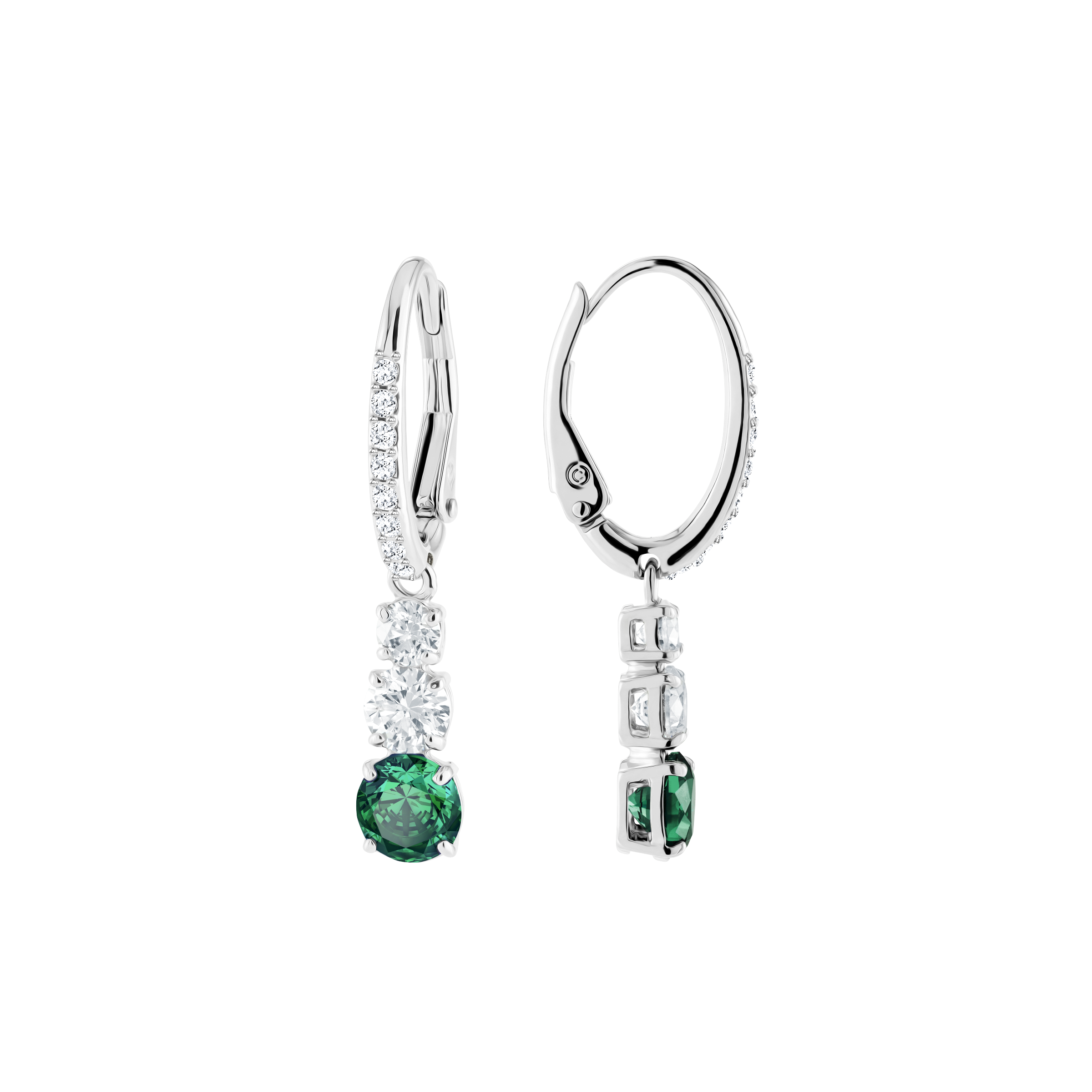 Attract Trilogy Round Pierced Earrings, Green, Rhodium Plating