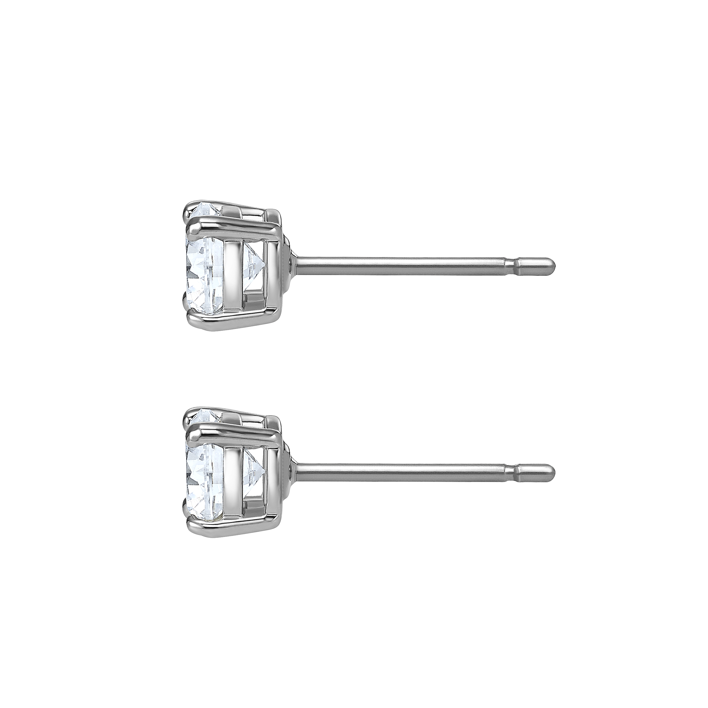 Attract Stud Pierced Earrings, White, Rhodium plated