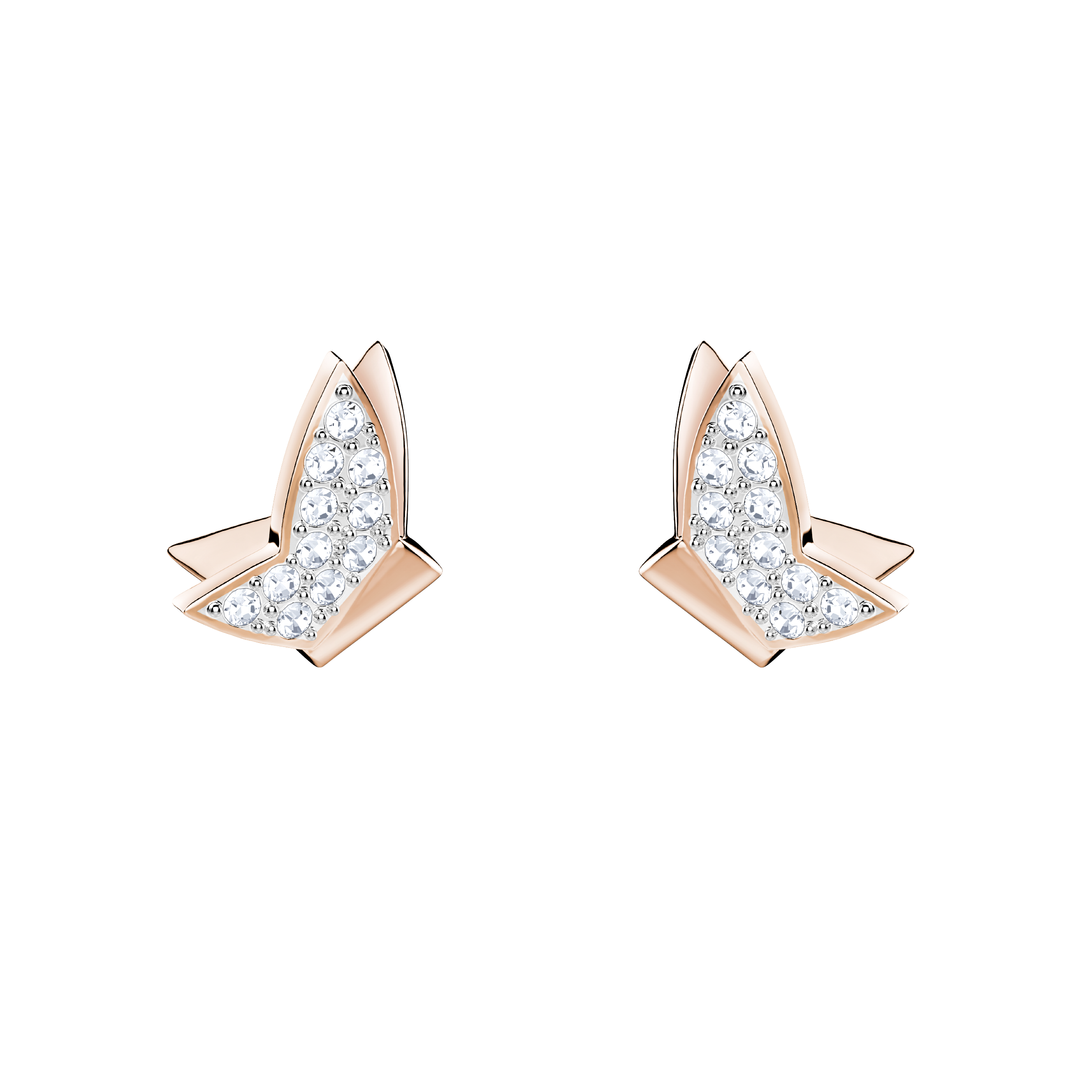 Lilia Fig Pierced Earrings, White, Rose Gold Plating