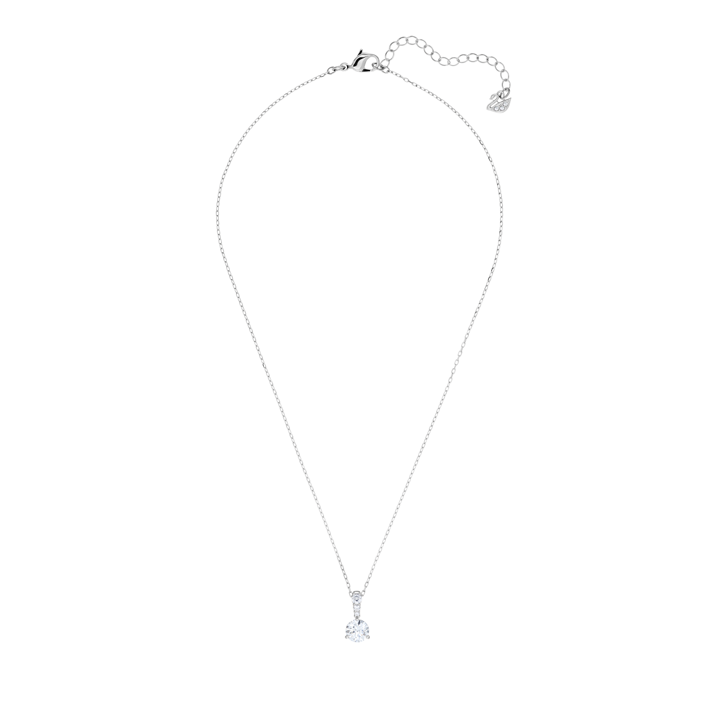 Solitaire Pendant, White, Rhodium plated